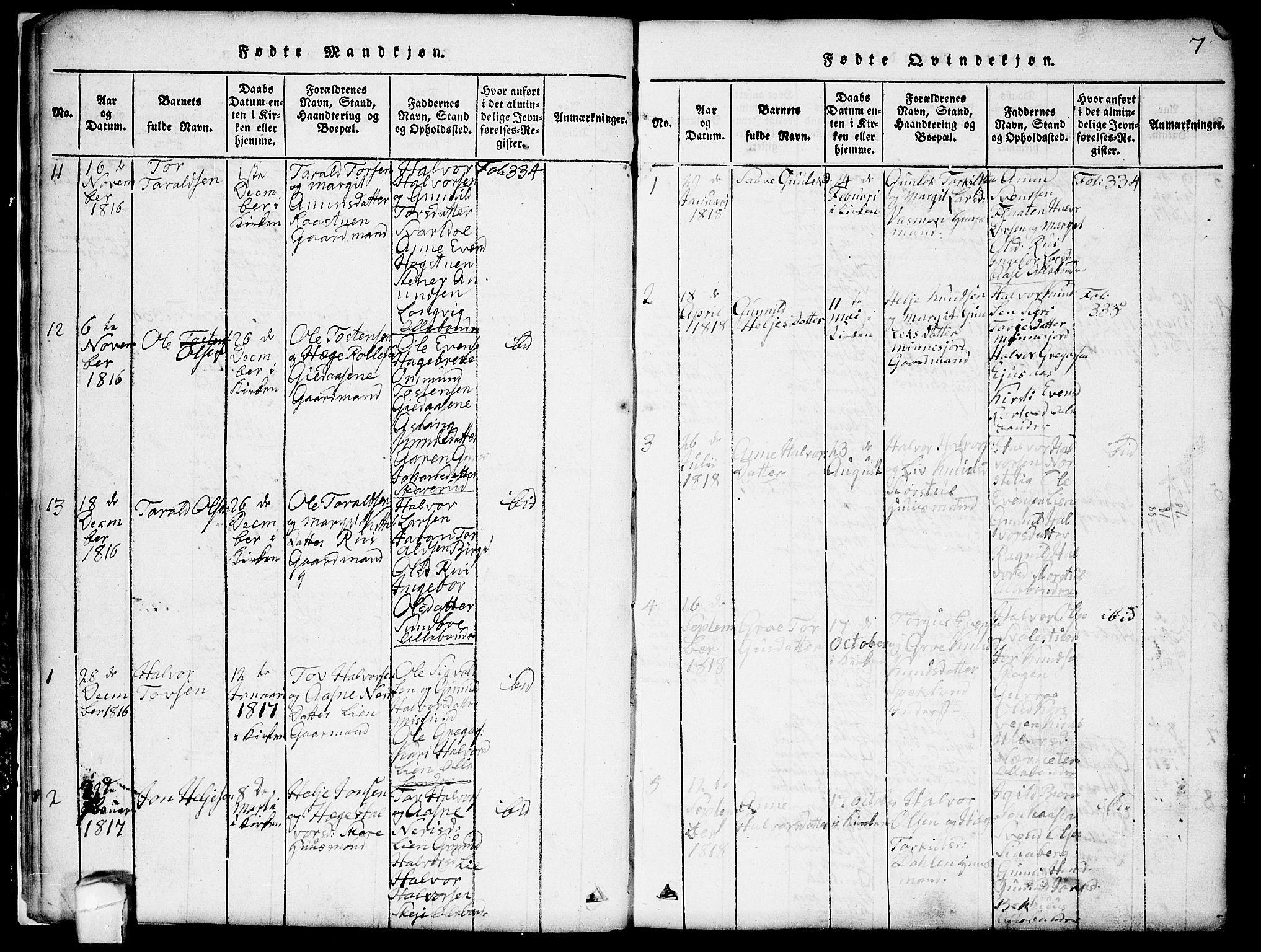SAKO, Seljord kirkebøker, G/Gb/L0002: Klokkerbok nr. II 2, 1815-1854, s. 7