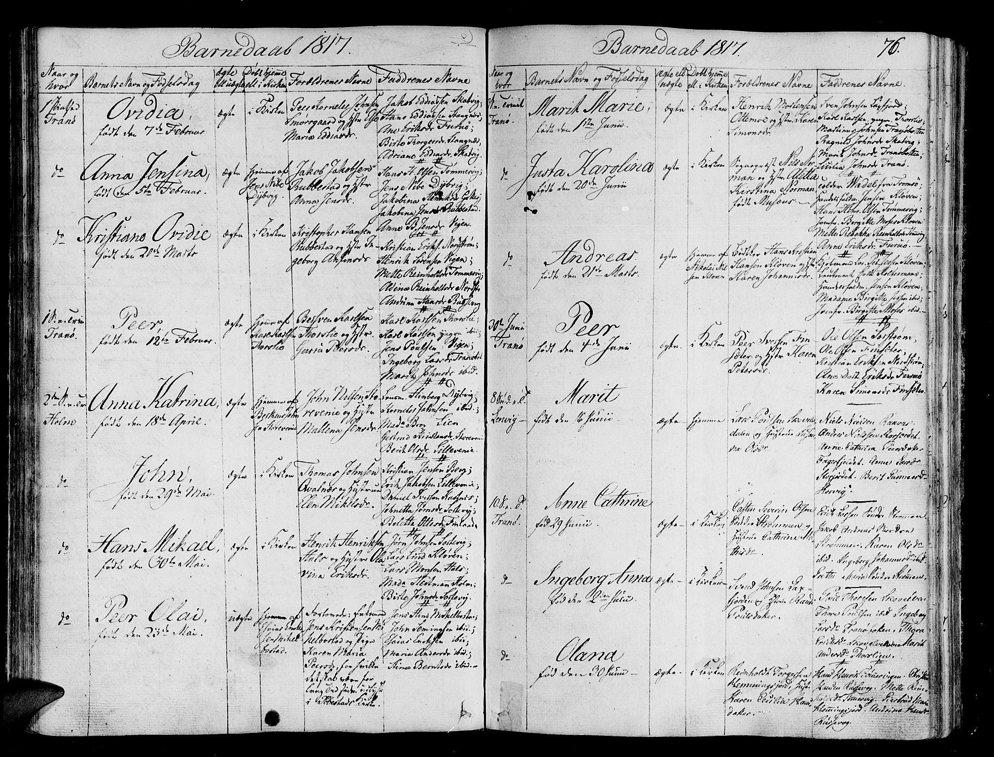SATØ, Tranøy sokneprestkontor, I/Ia/Iaa/L0003kirke: Ministerialbok nr. 3, 1807-1820, s. 76