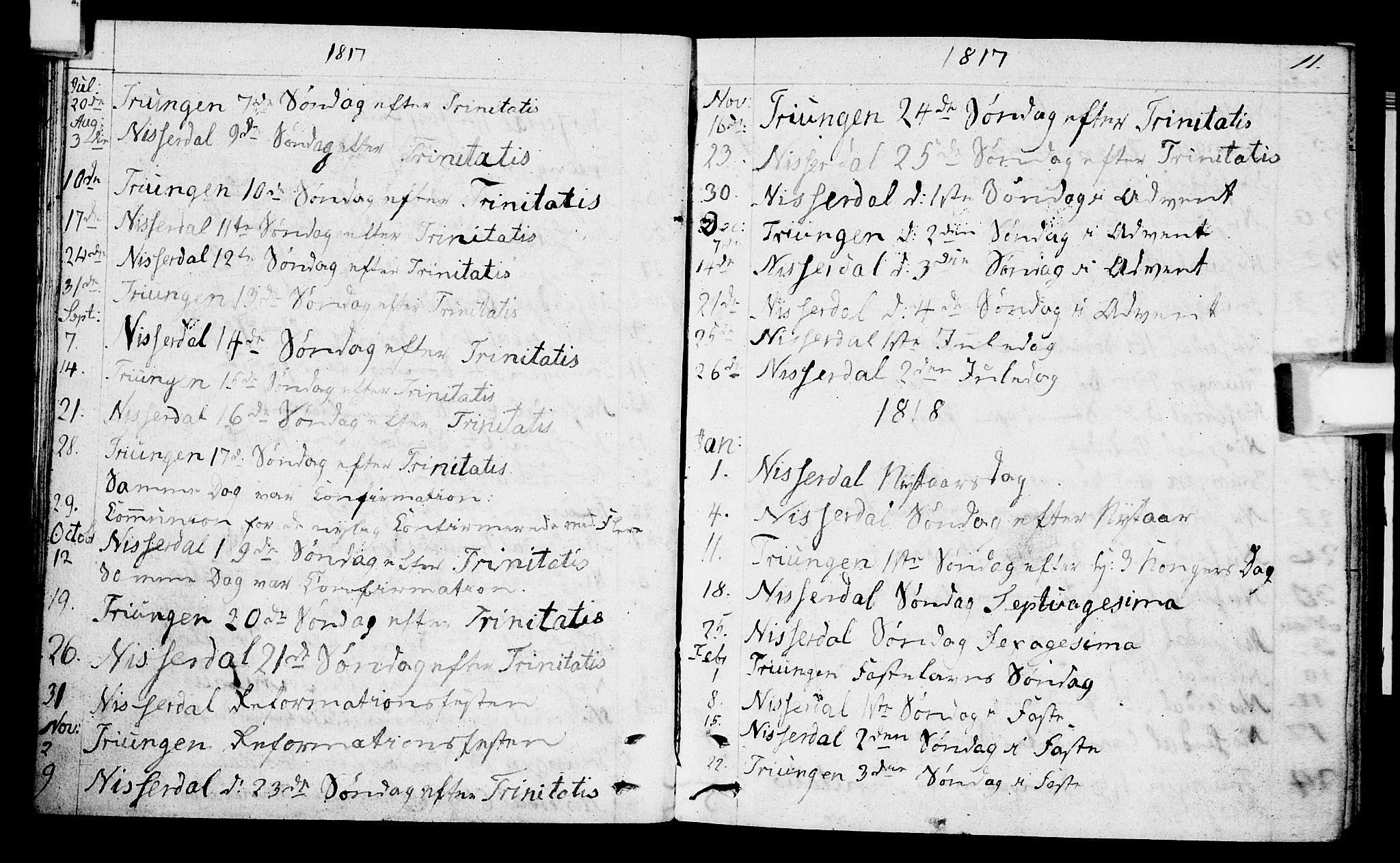 SAKO, Nissedal kirkebøker, F/Fa/L0001: Ministerialbok nr. I 1, 1811-1814, s. 11