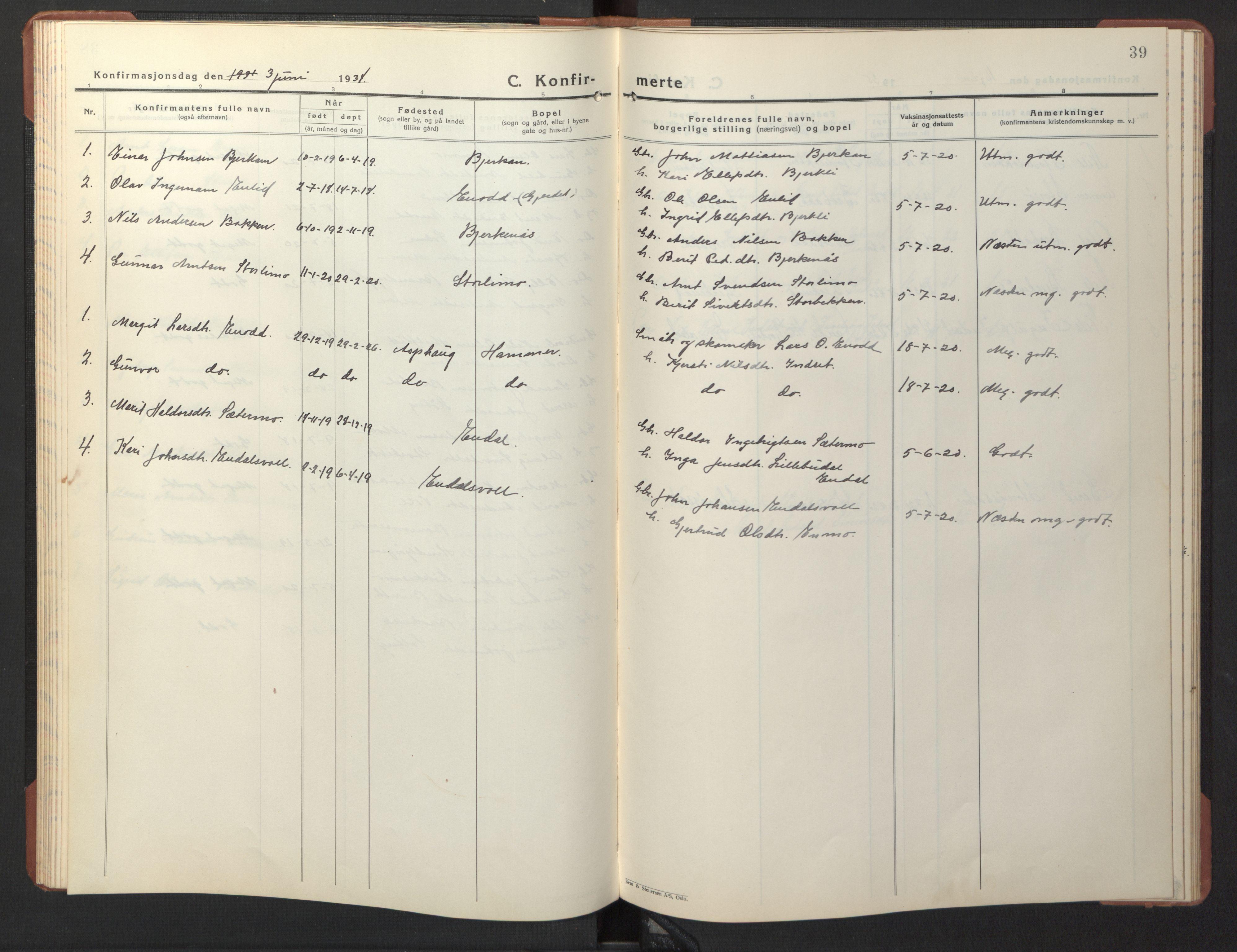 SAT, Ministerialprotokoller, klokkerbøker og fødselsregistre - Sør-Trøndelag, 690/L1053: Klokkerbok nr. 690C03, 1930-1947, s. 39