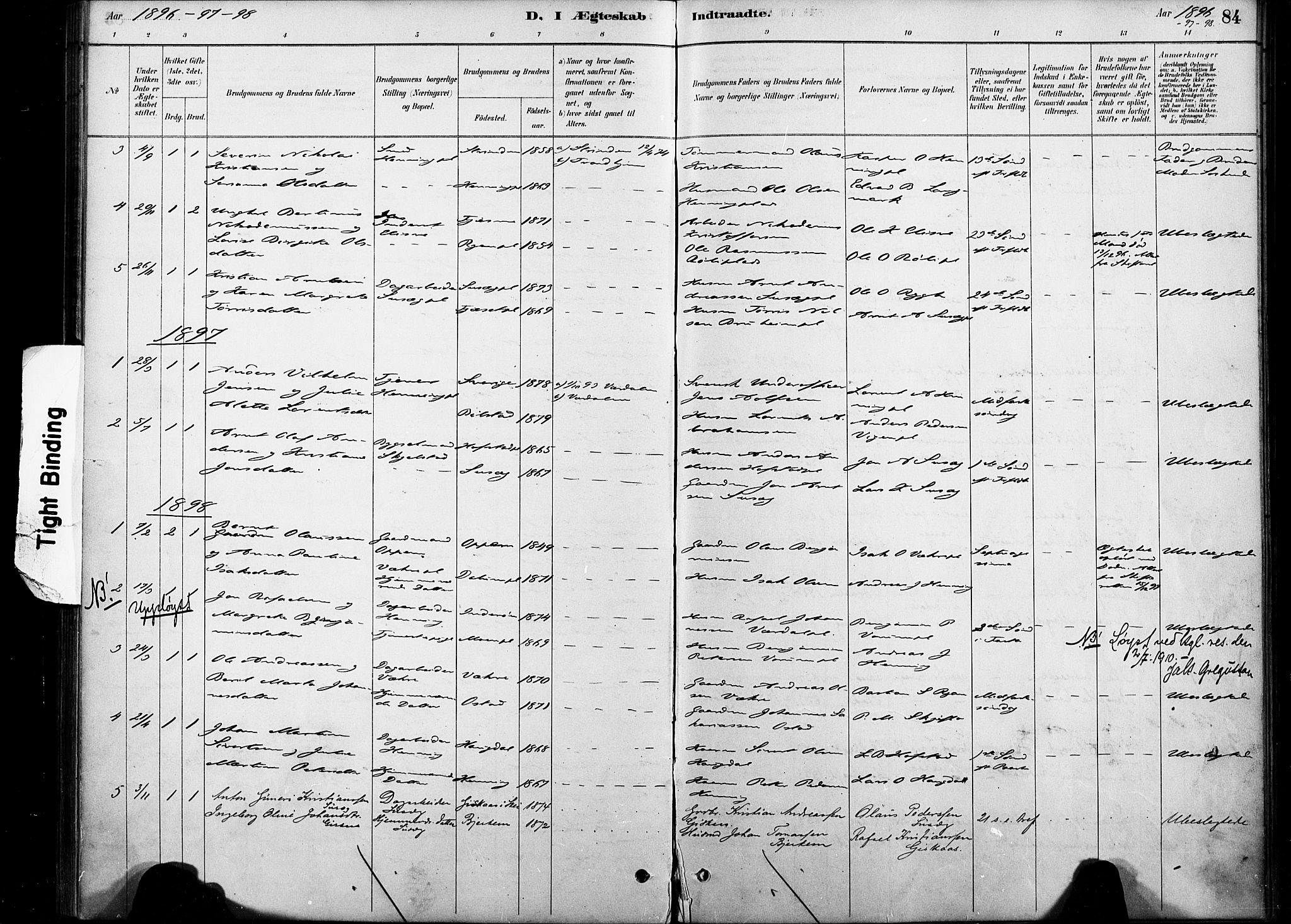 SAT, Ministerialprotokoller, klokkerbøker og fødselsregistre - Nord-Trøndelag, 738/L0364: Ministerialbok nr. 738A01, 1884-1902, s. 84