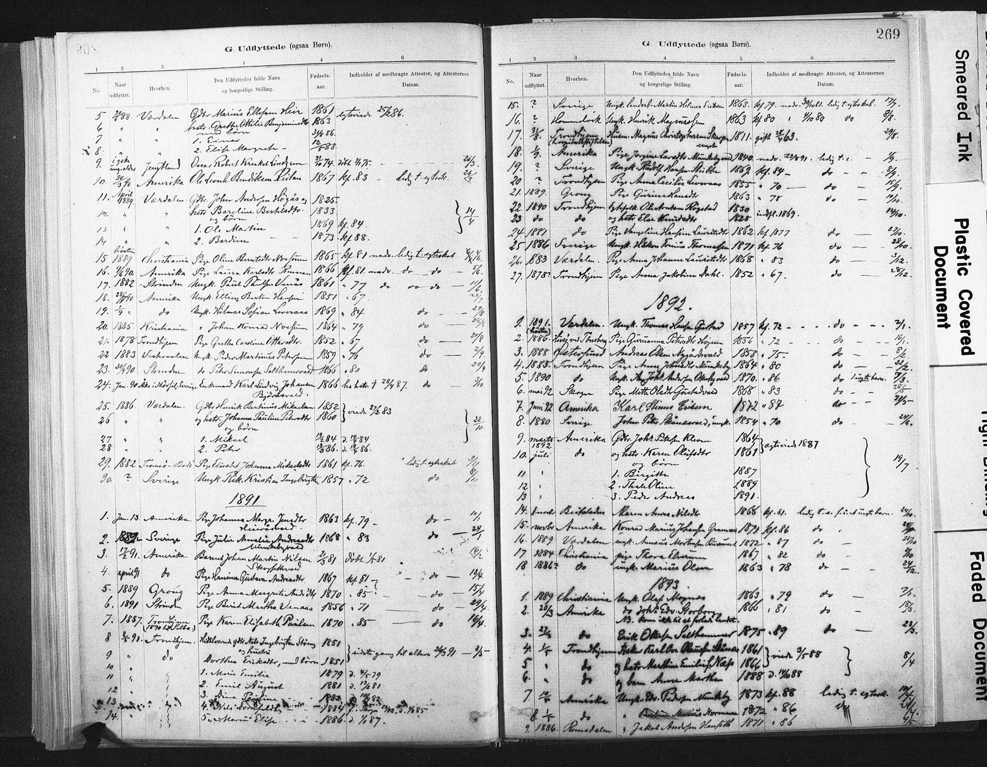 SAT, Ministerialprotokoller, klokkerbøker og fødselsregistre - Nord-Trøndelag, 721/L0207: Ministerialbok nr. 721A02, 1880-1911, s. 269