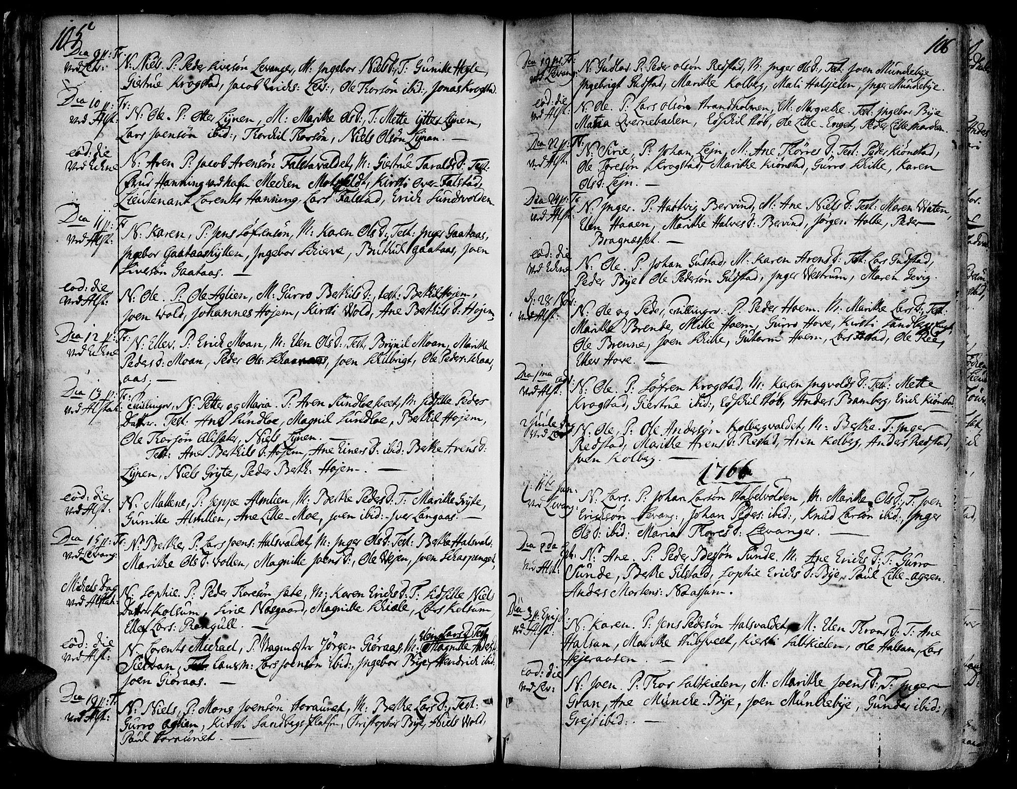 SAT, Ministerialprotokoller, klokkerbøker og fødselsregistre - Nord-Trøndelag, 717/L0141: Ministerialbok nr. 717A01, 1747-1803, s. 105-106