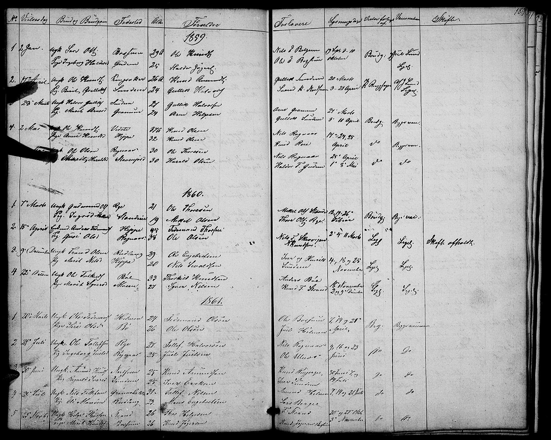 SAH, Nord-Aurdal prestekontor, Klokkerbok nr. 4, 1842-1882, s. 189