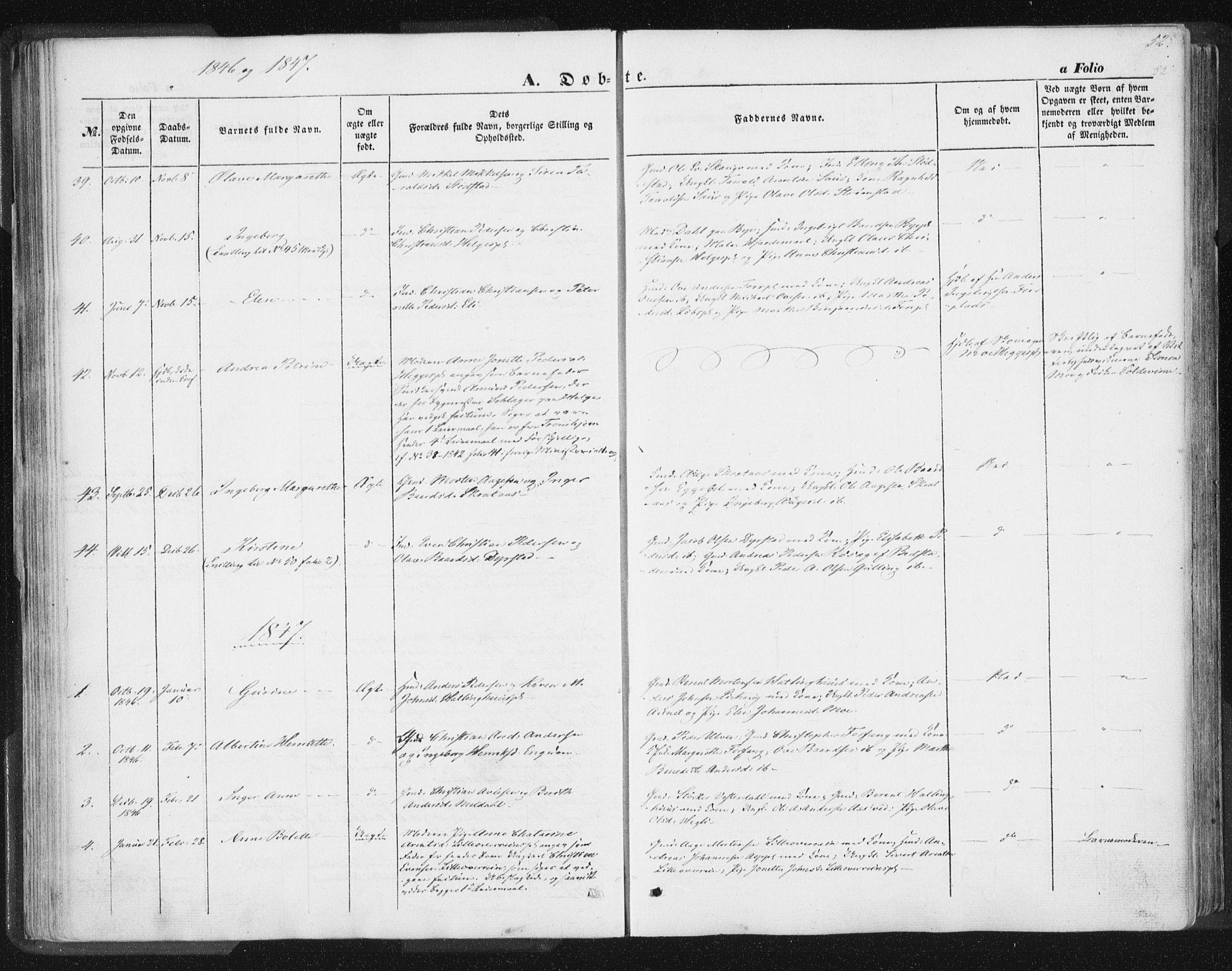 SAT, Ministerialprotokoller, klokkerbøker og fødselsregistre - Nord-Trøndelag, 746/L0446: Ministerialbok nr. 746A05, 1846-1859, s. 52