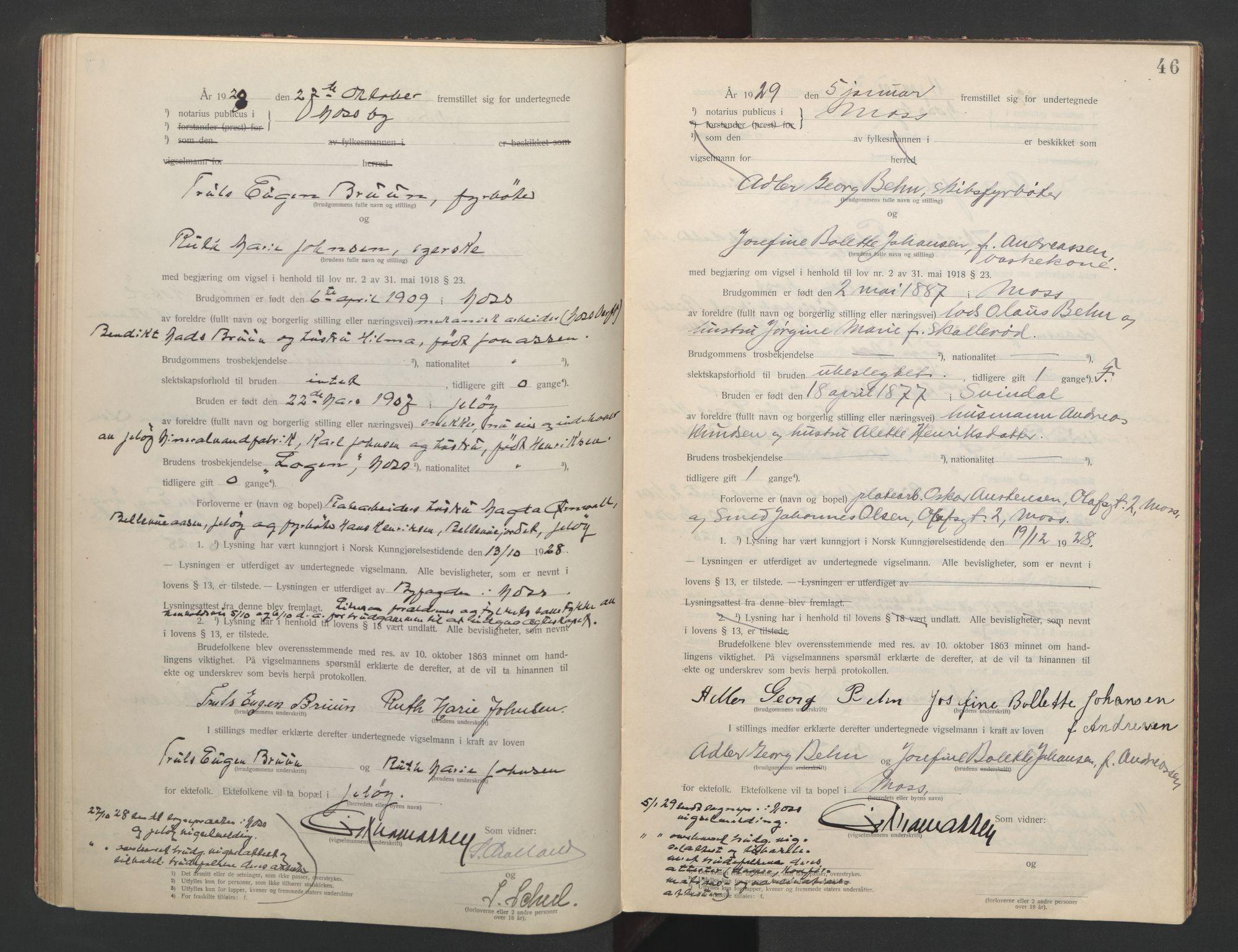 SAO, Moss byfogd, L/Lb/L0003: Vigselsbok, 1920-1932, s. 46