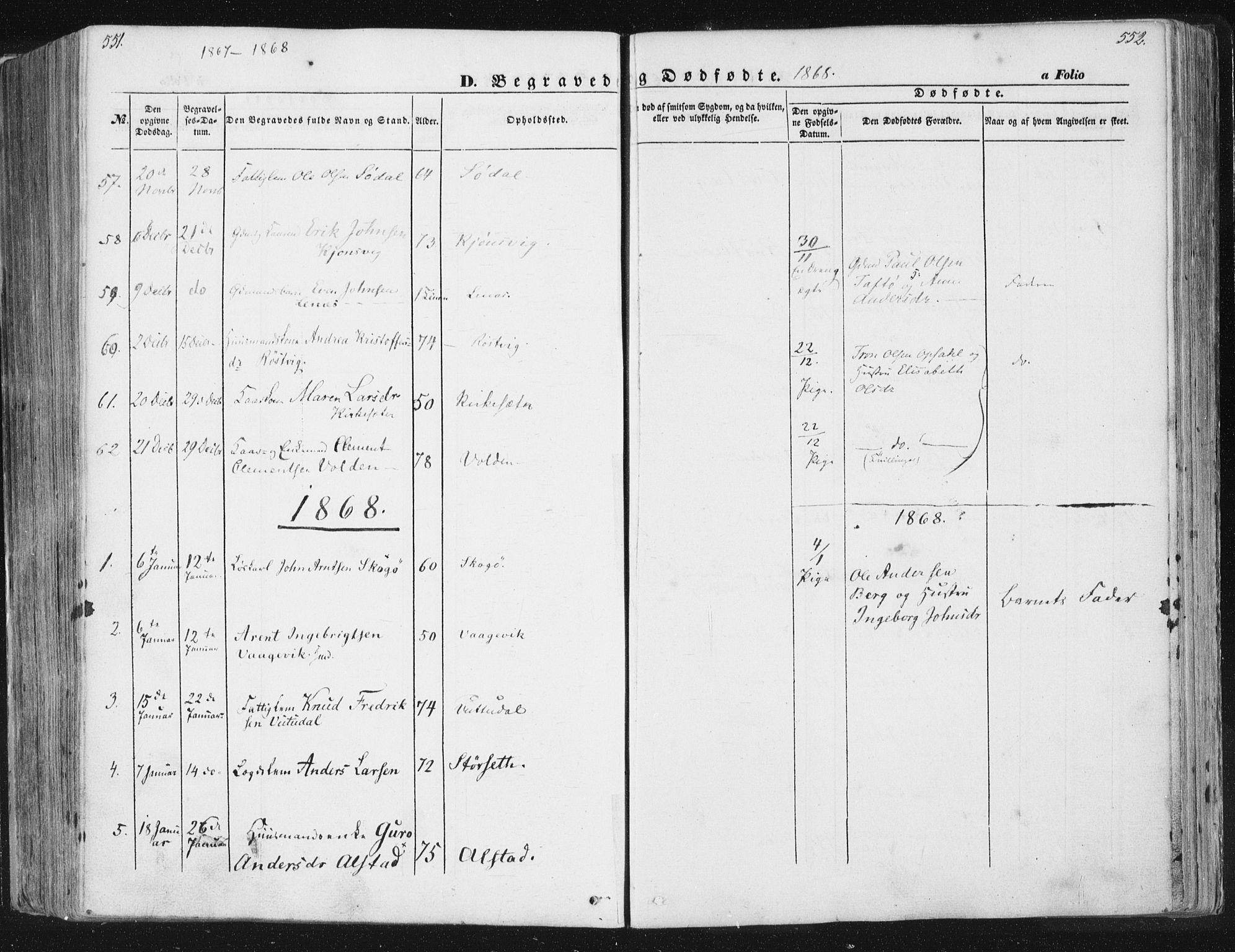 SAT, Ministerialprotokoller, klokkerbøker og fødselsregistre - Sør-Trøndelag, 630/L0494: Ministerialbok nr. 630A07, 1852-1868, s. 551-552