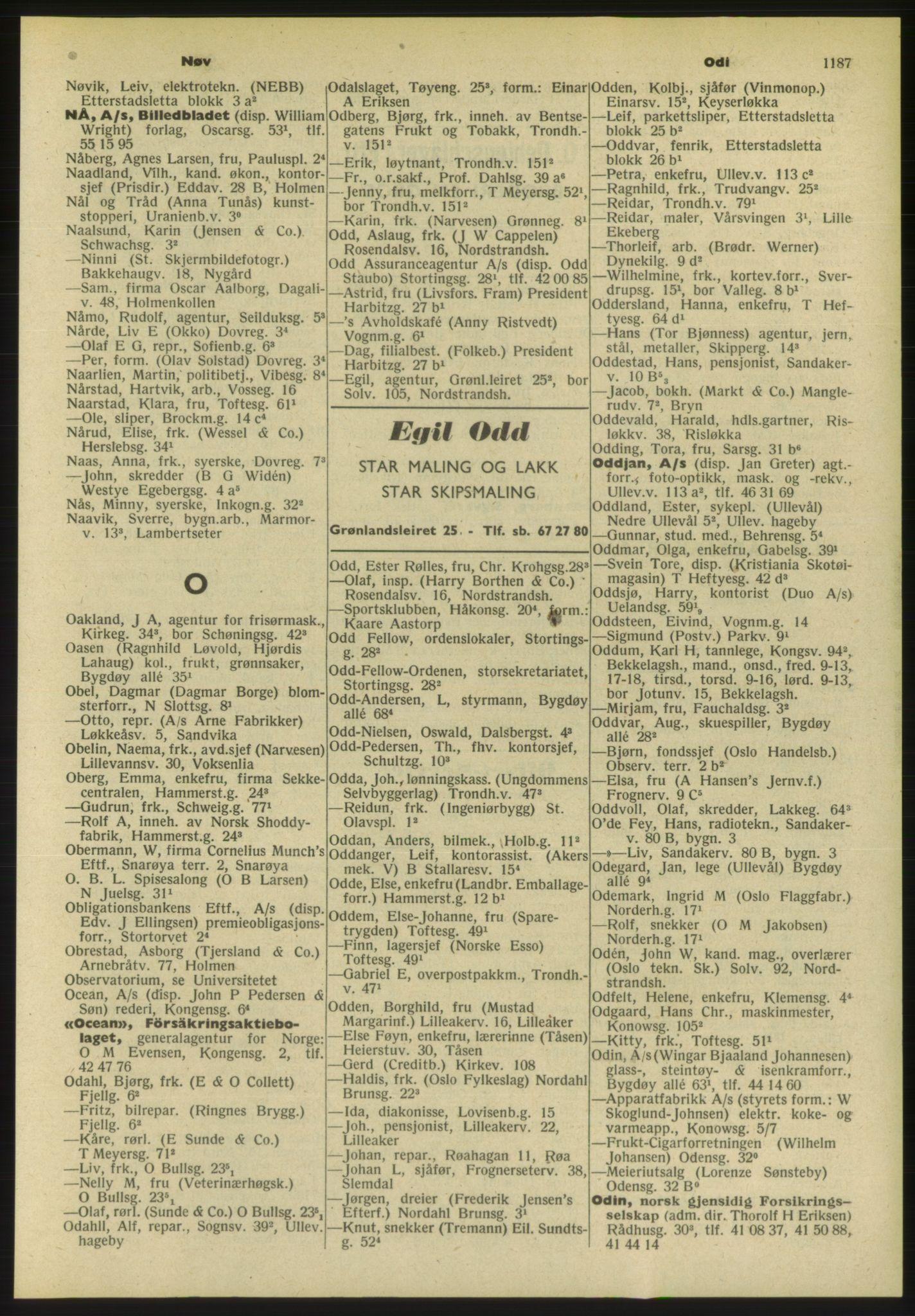 PUBL, Kristiania/Oslo adressebok, 1954, s. 1187