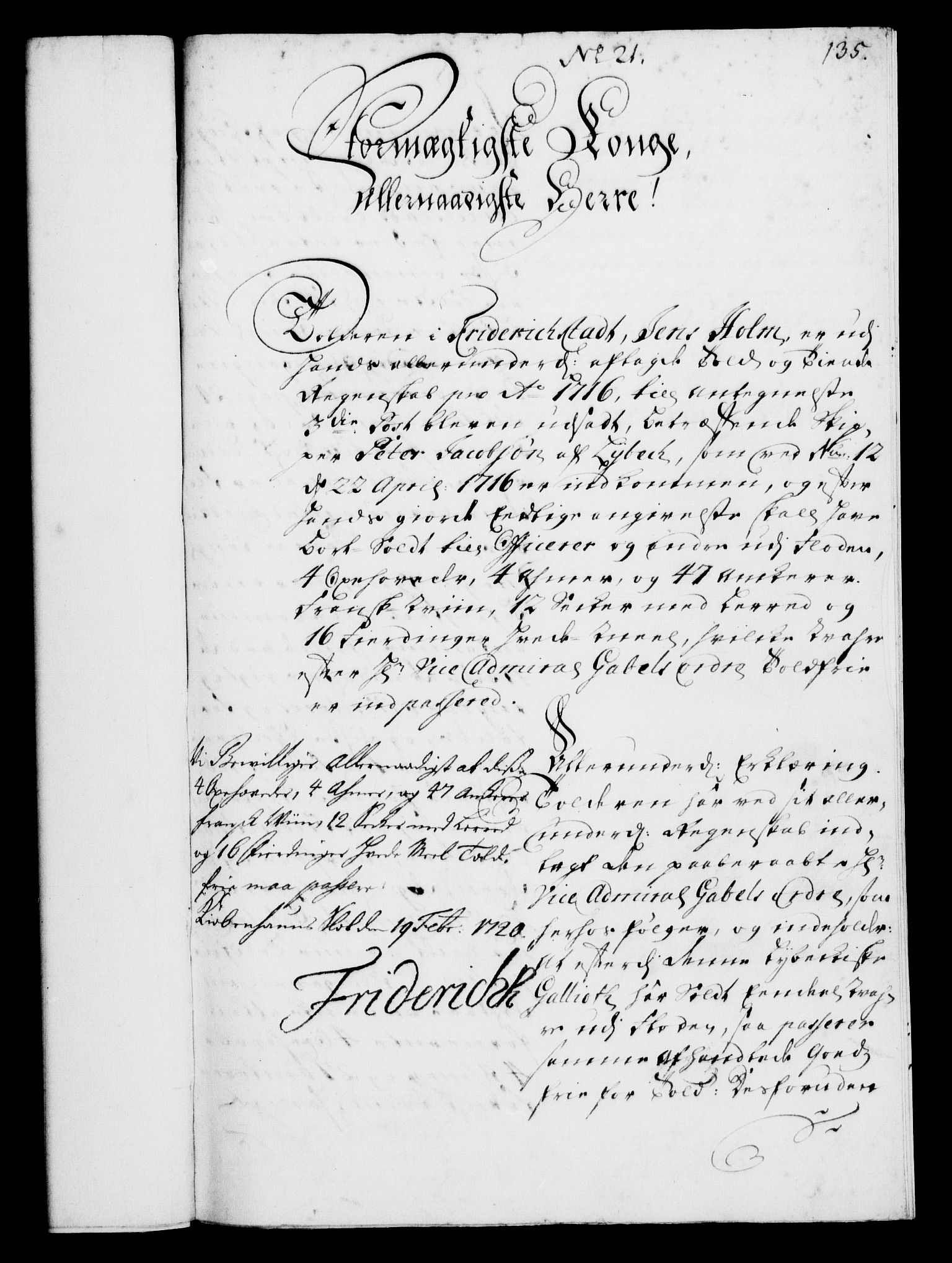 RA, Rentekammeret, Kammerkanselliet, G/Gf/Gfa/L0002: Norsk relasjons- og resolusjonsprotokoll (merket RK 52.2), 1720, s. 135