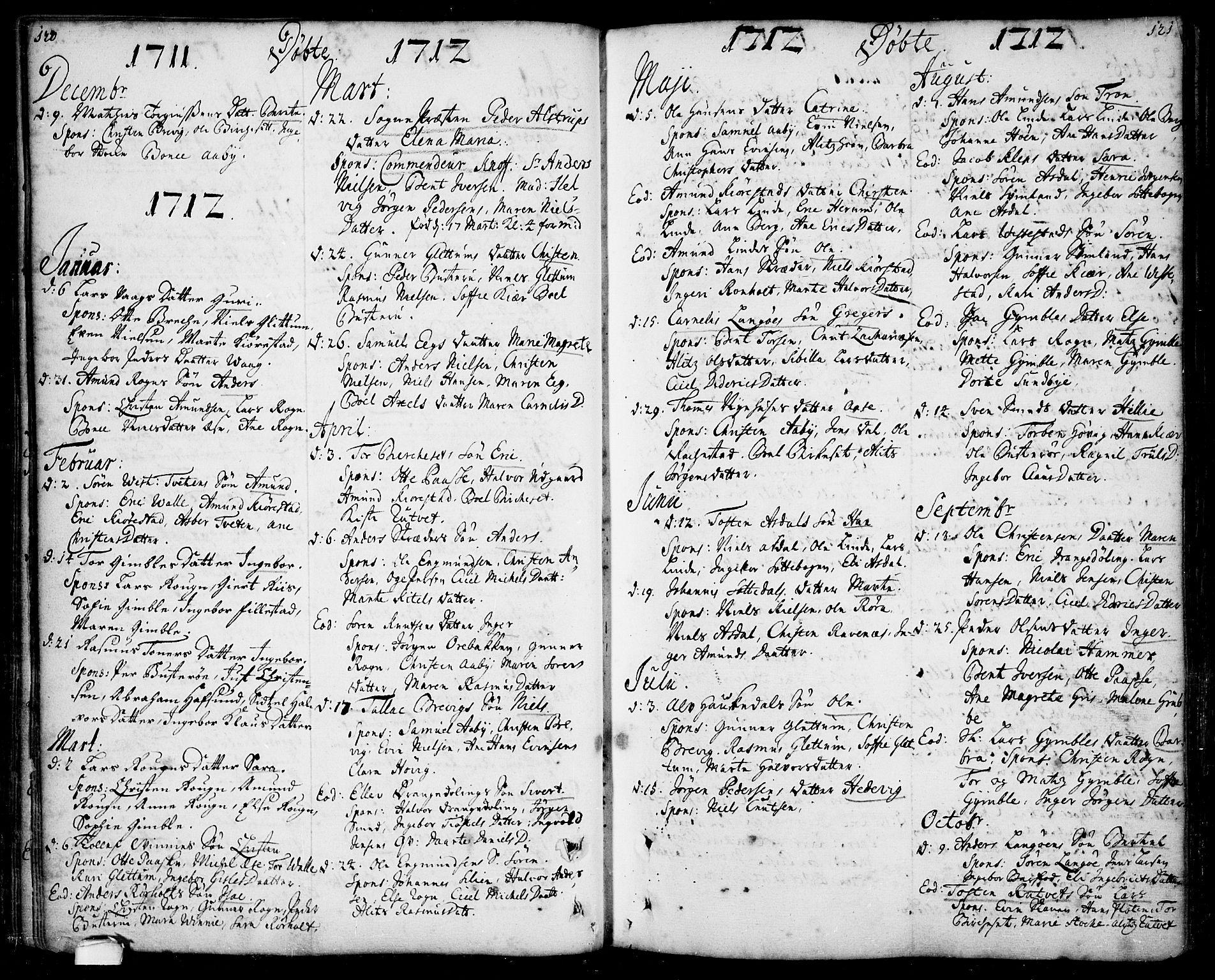 SAKO, Bamble kirkebøker, F/Fa/L0001: Ministerialbok nr. I 1, 1702-1774, s. 120-121