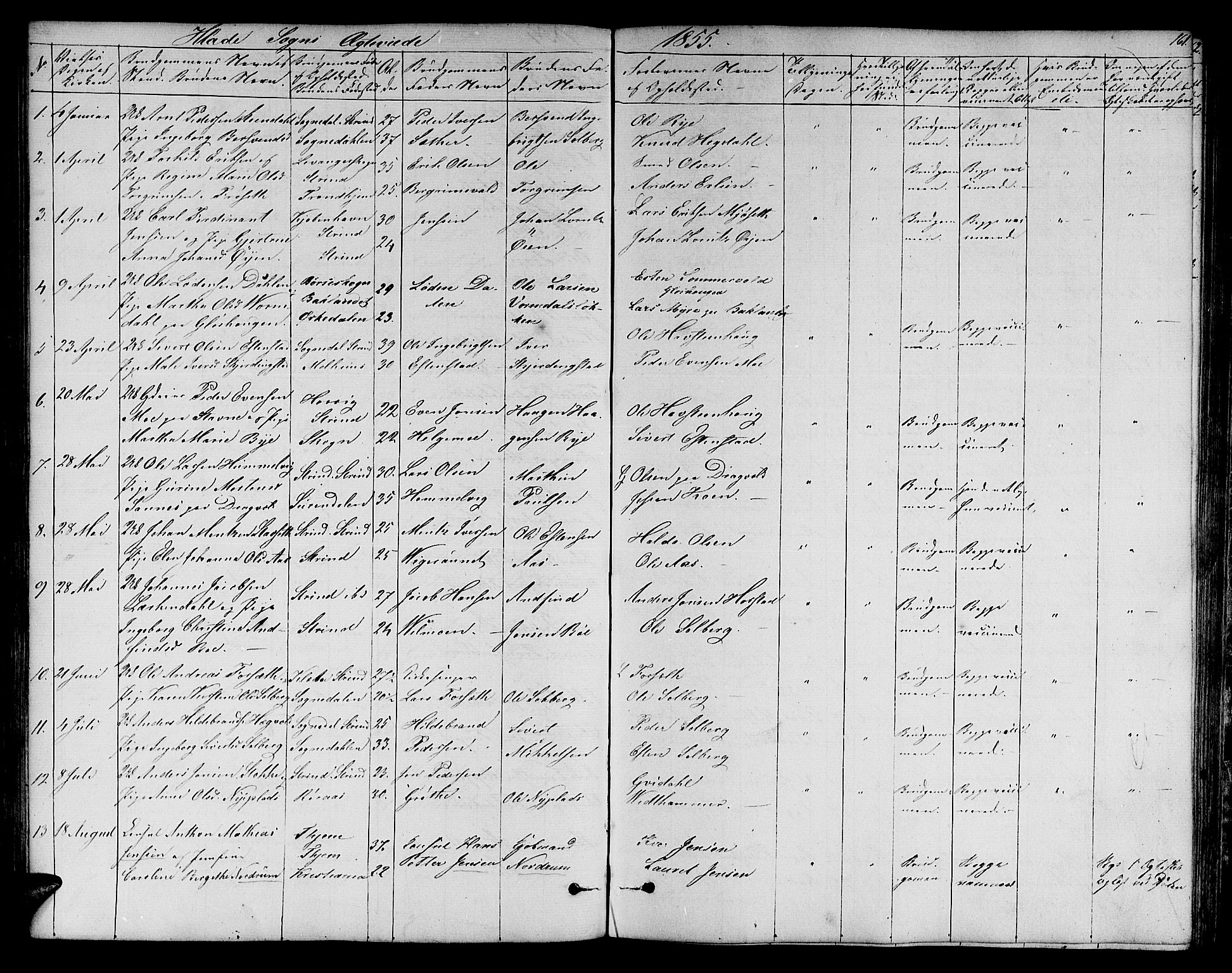 SAT, Ministerialprotokoller, klokkerbøker og fødselsregistre - Sør-Trøndelag, 606/L0310: Klokkerbok nr. 606C06, 1850-1859, s. 161