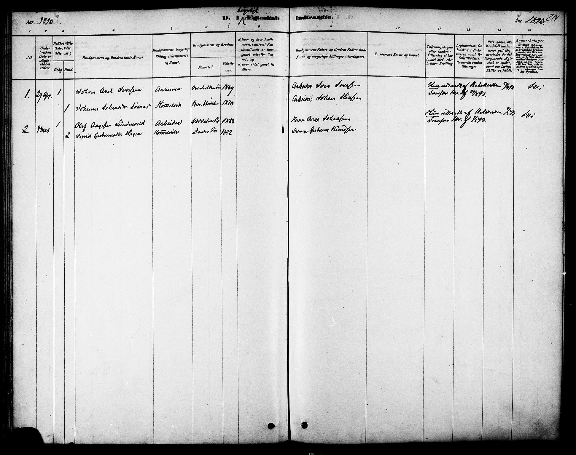 SAT, Ministerialprotokoller, klokkerbøker og fødselsregistre - Sør-Trøndelag, 616/L0410: Ministerialbok nr. 616A07, 1878-1893, s. 214