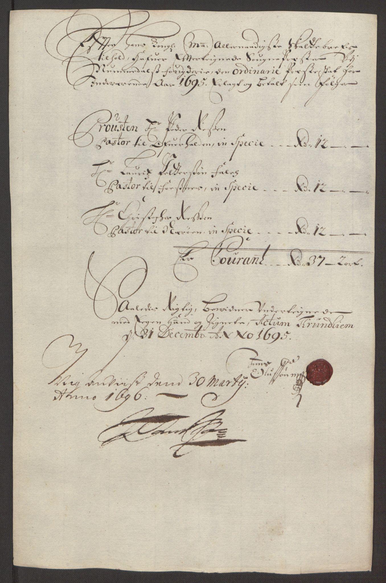 RA, Rentekammeret inntil 1814, Reviderte regnskaper, Fogderegnskap, R64/L4424: Fogderegnskap Namdal, 1692-1695, s. 506