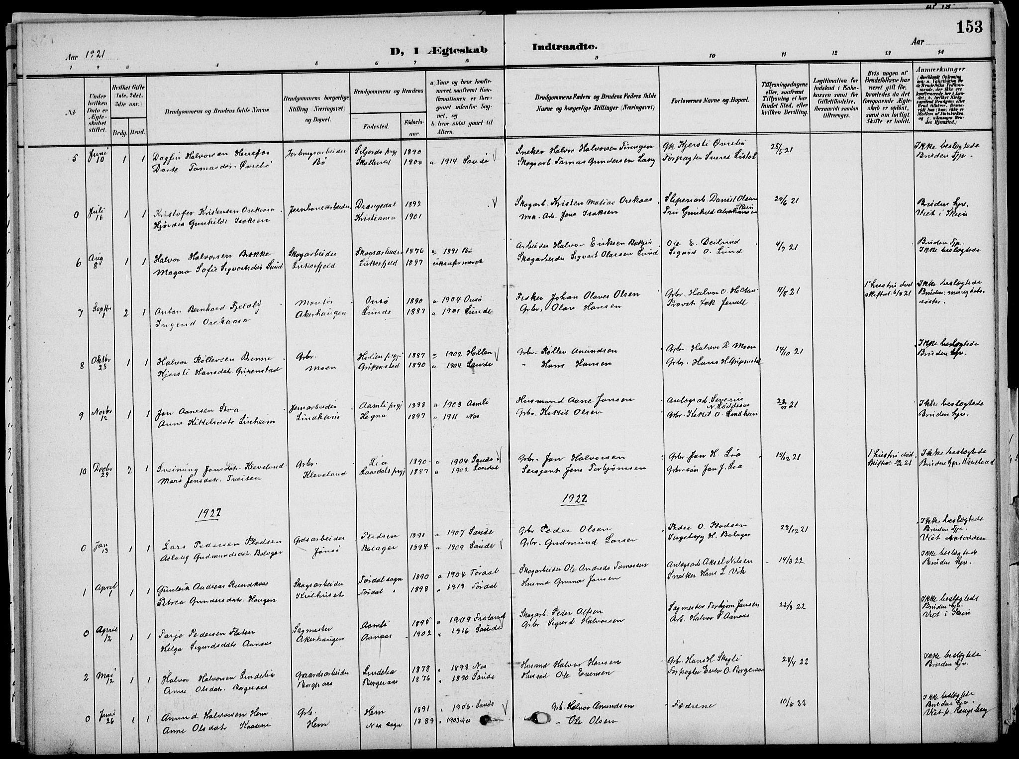 SAKO, Sauherad kirkebøker, G/Ga/L0004a: Klokkerbok nr. I 4, 1906-1934, s. 153