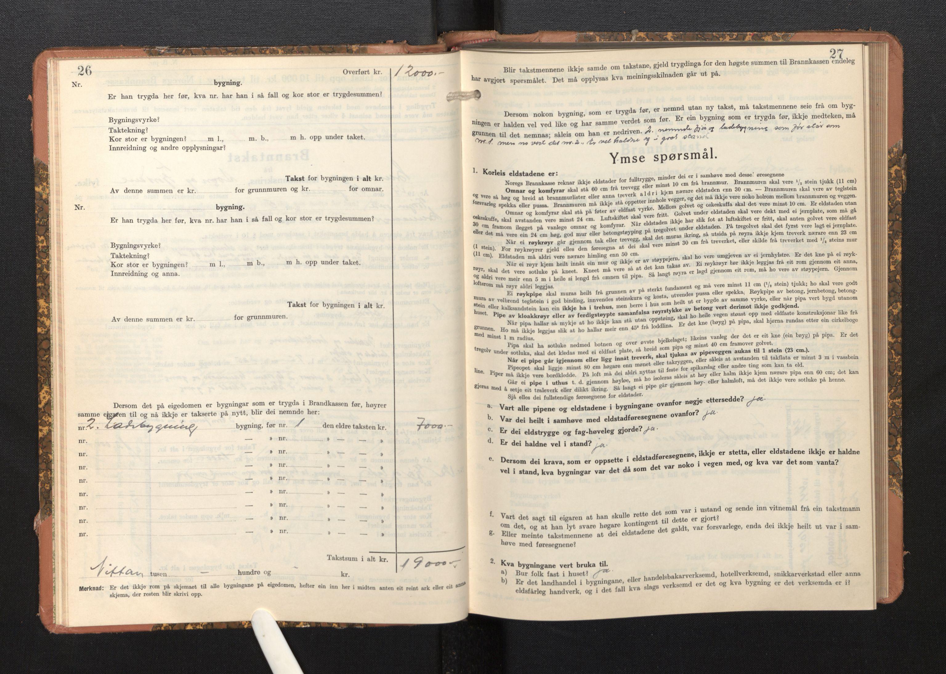 SAB, Lensmannen i Bremanger, 0012/L0009: Branntakstprotokoll, skjematakst, 1943-1950, s. 26-27