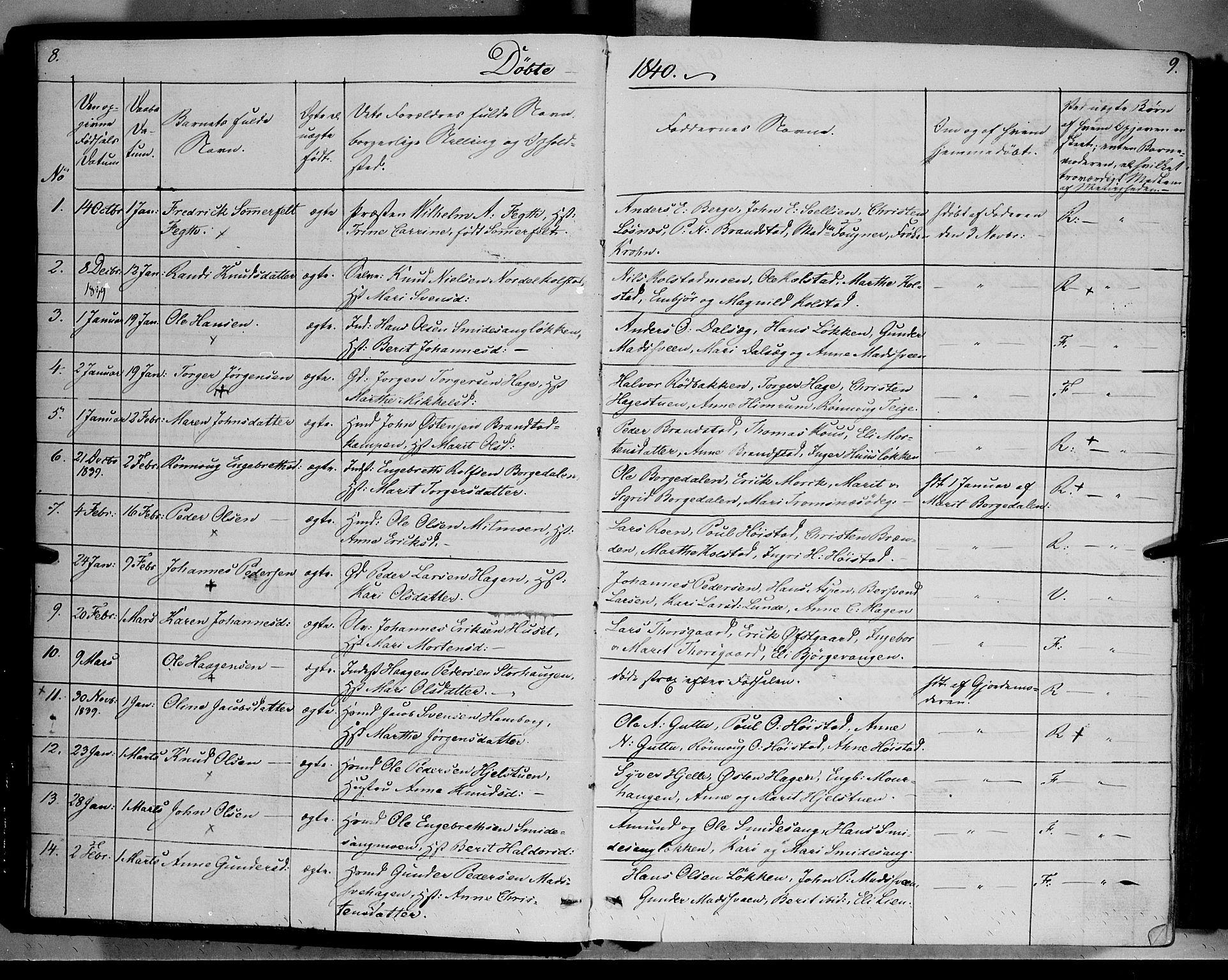 SAH, Ringebu prestekontor, Ministerialbok nr. 5, 1839-1848, s. 8-9