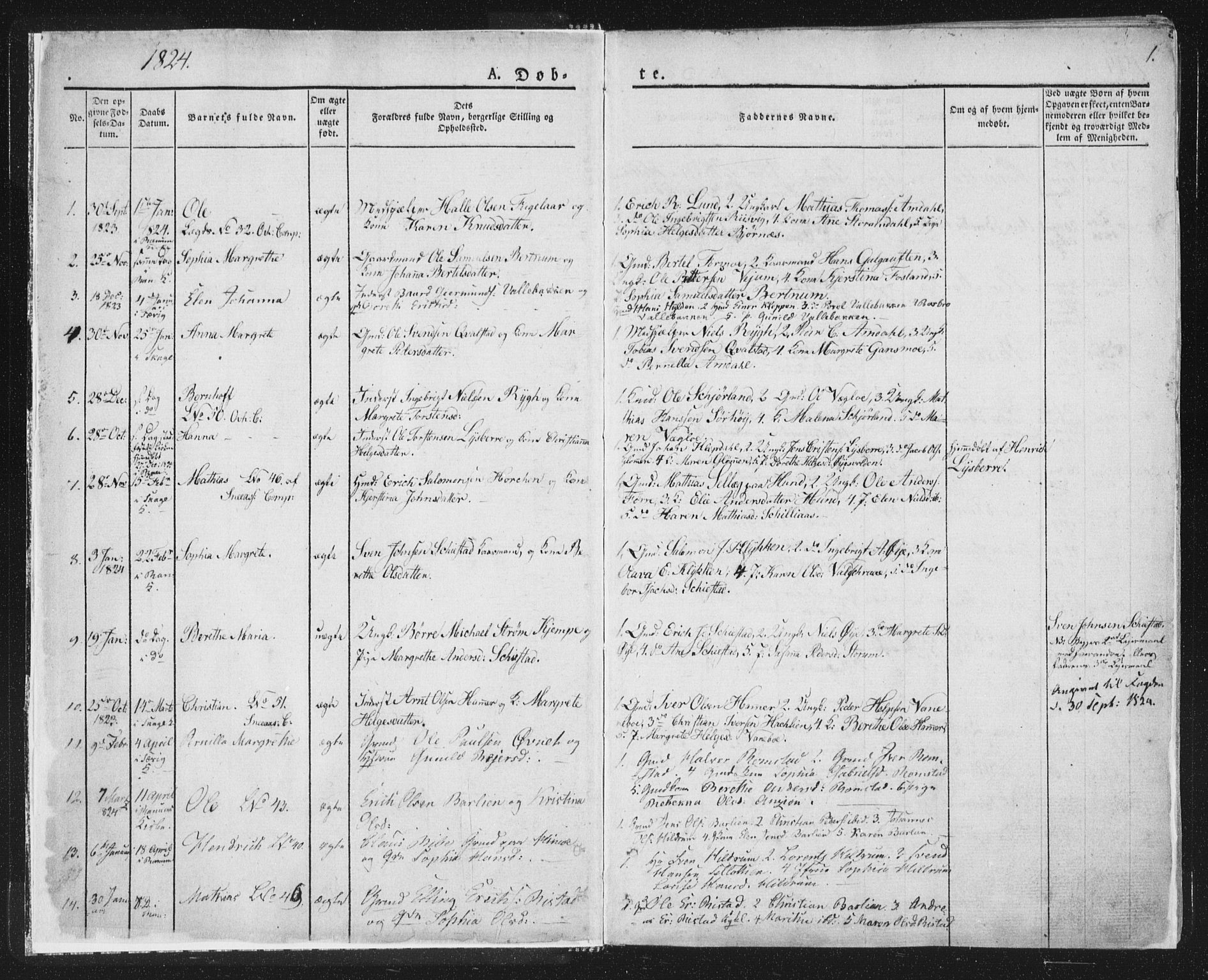 SAT, Ministerialprotokoller, klokkerbøker og fødselsregistre - Nord-Trøndelag, 764/L0551: Ministerialbok nr. 764A07a, 1824-1864, s. 1