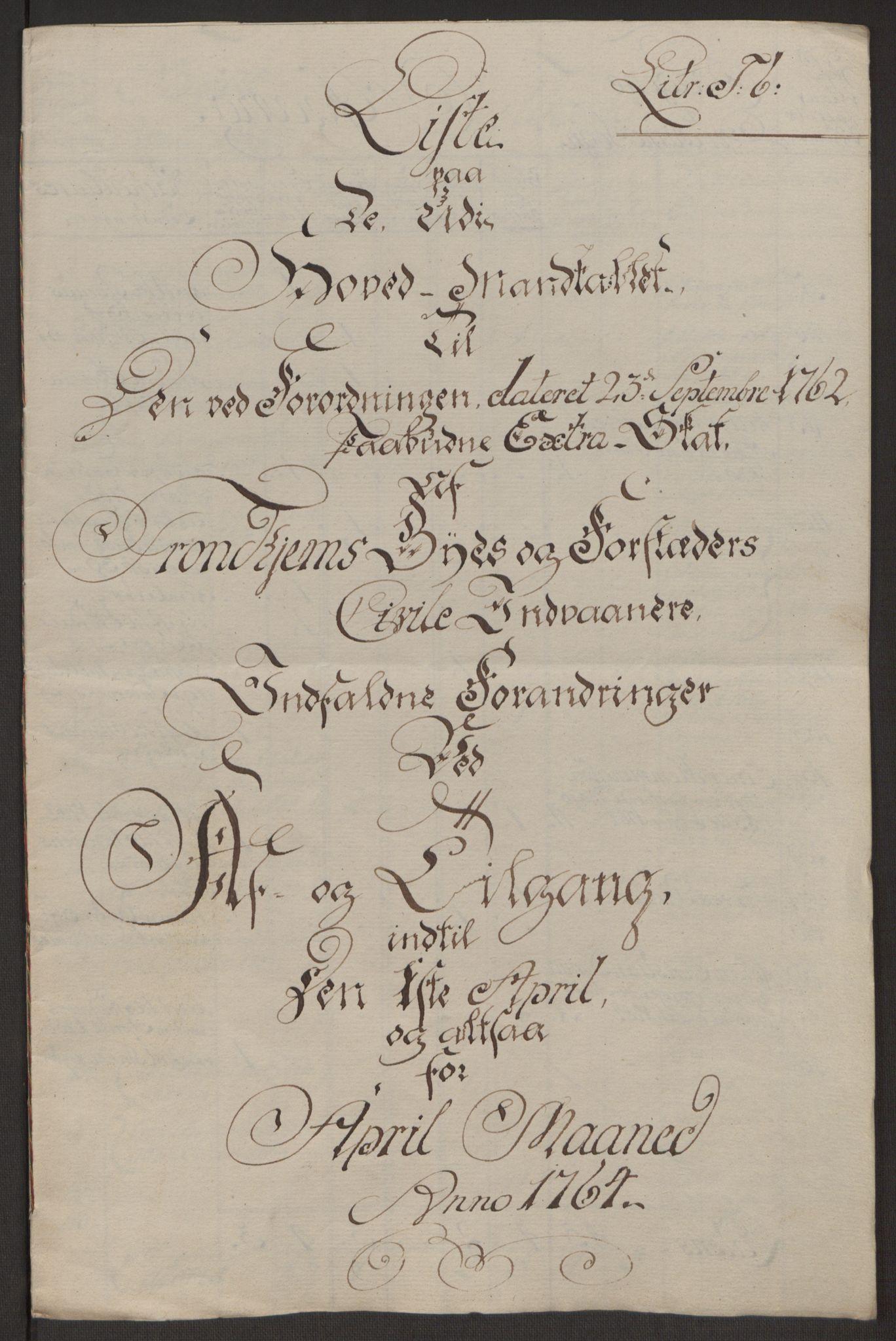 RA, Rentekammeret inntil 1814, Reviderte regnskaper, Byregnskaper, R/Rs/L0516: [S9] Kontribusjonsregnskap, 1762-1767, s. 271