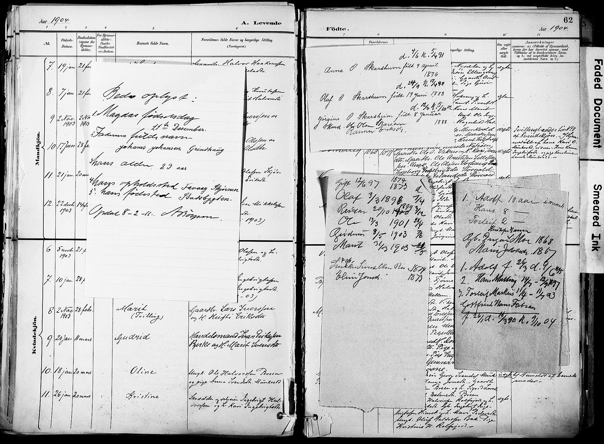 SAT, Ministerialprotokoller, klokkerbøker og fødselsregistre - Sør-Trøndelag, 678/L0902: Ministerialbok nr. 678A11, 1895-1911, s. 62