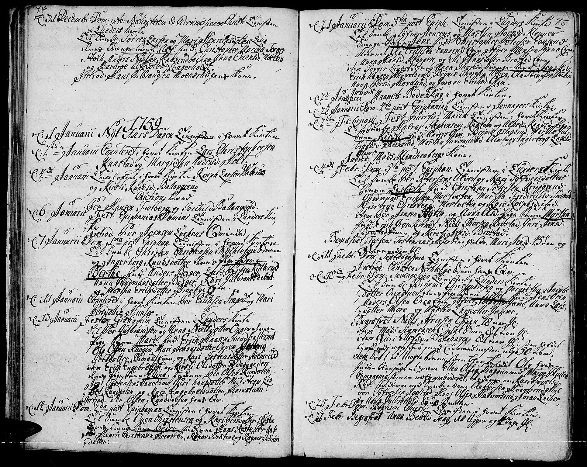 SAH, Jevnaker prestekontor, Ministerialbok nr. 3, 1752-1799, s. 74-75