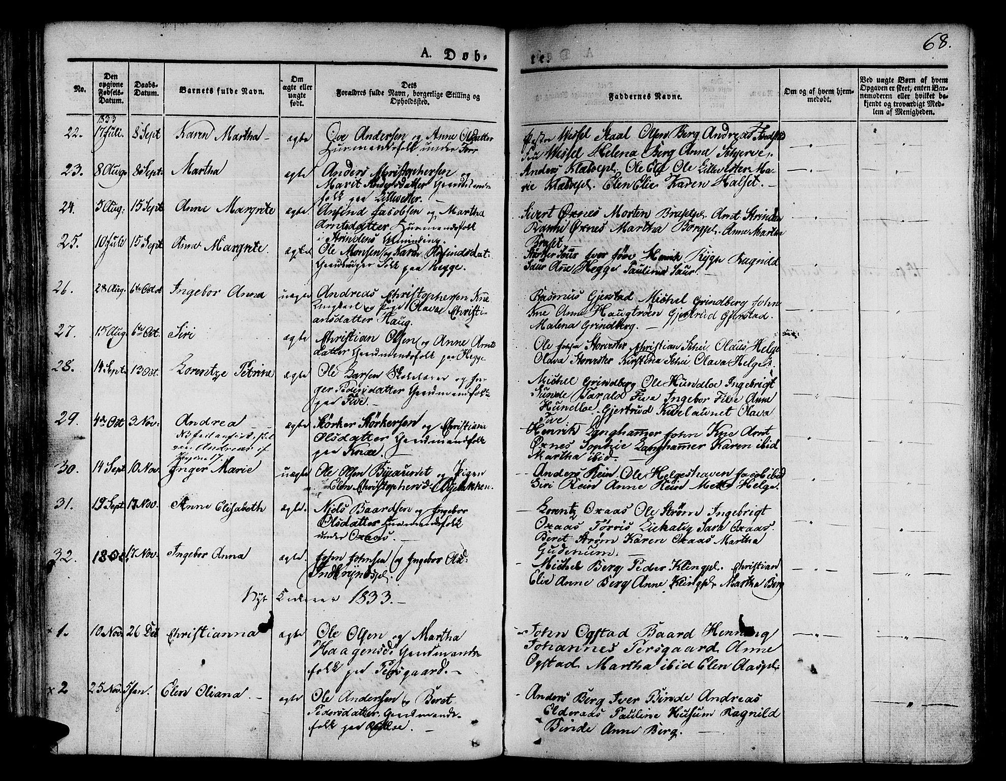SAT, Ministerialprotokoller, klokkerbøker og fødselsregistre - Nord-Trøndelag, 746/L0445: Ministerialbok nr. 746A04, 1826-1846, s. 68