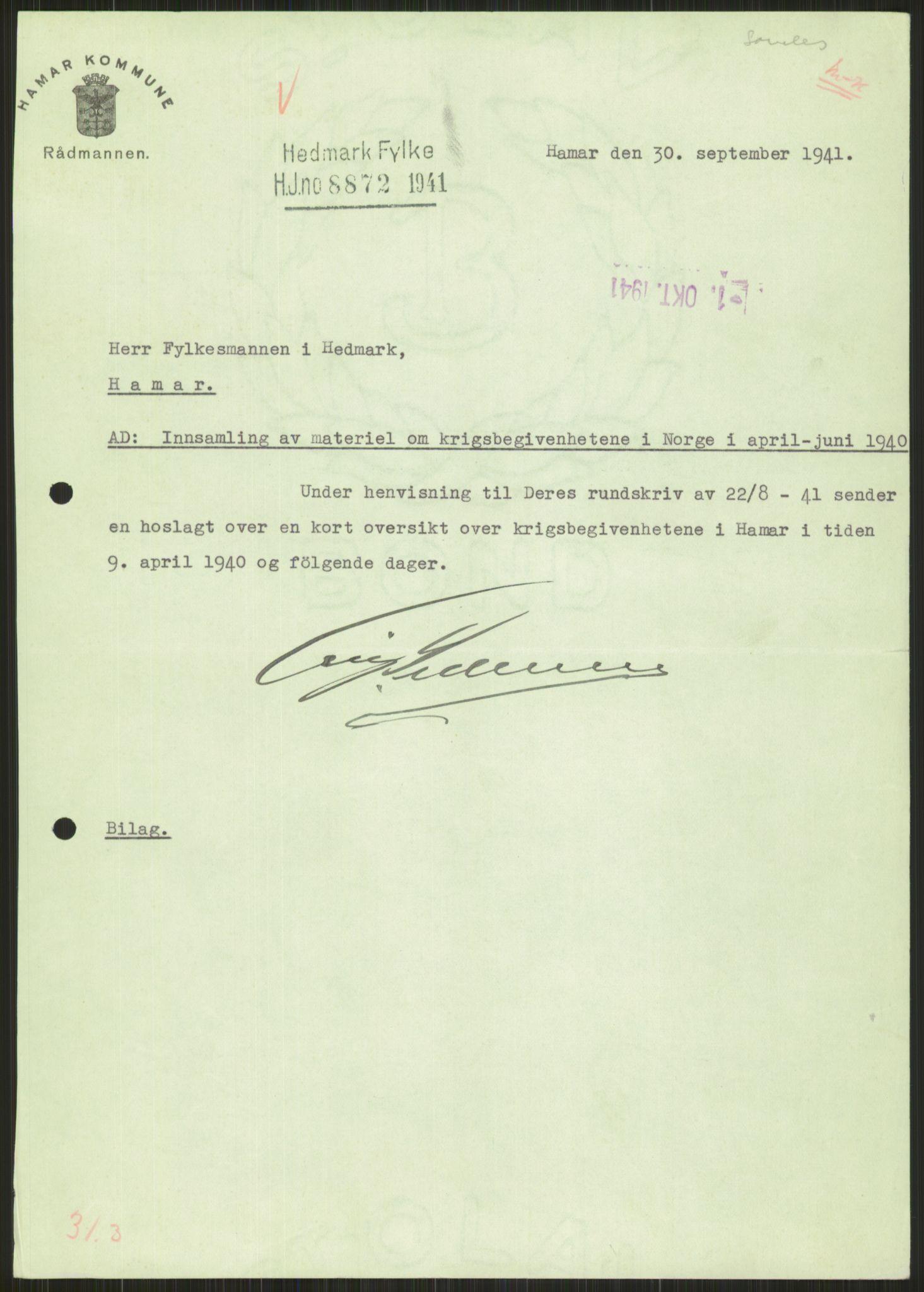 RA, Forsvaret, Forsvarets krigshistoriske avdeling, Y/Ya/L0013: II-C-11-31 - Fylkesmenn.  Rapporter om krigsbegivenhetene 1940., 1940, s. 889