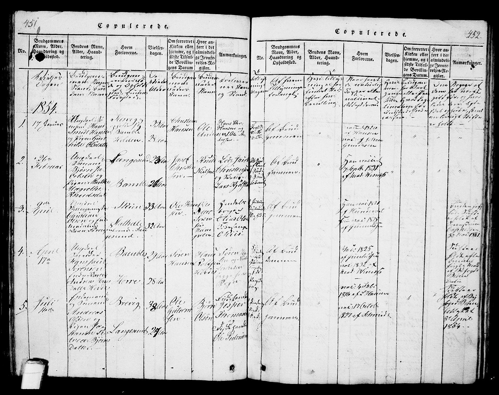 SAKO, Langesund kirkebøker, G/Ga/L0003: Klokkerbok nr. 3, 1815-1858, s. 451-452