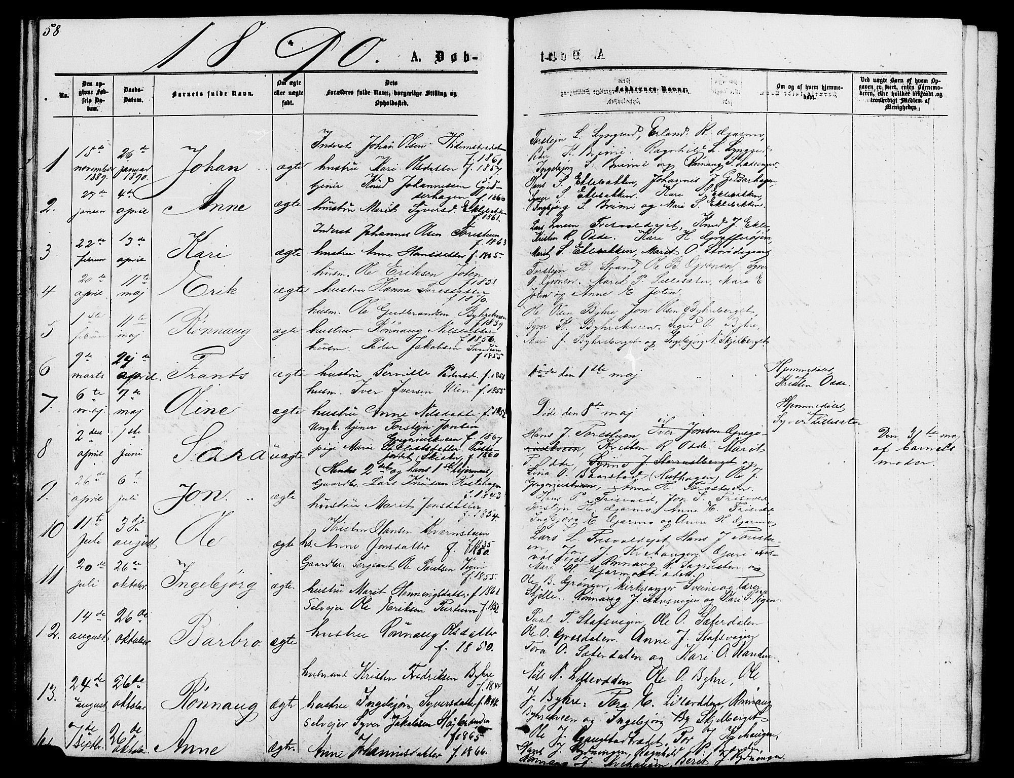 SAH, Lom prestekontor, L/L0005: Klokkerbok nr. 5, 1876-1901, s. 58-59