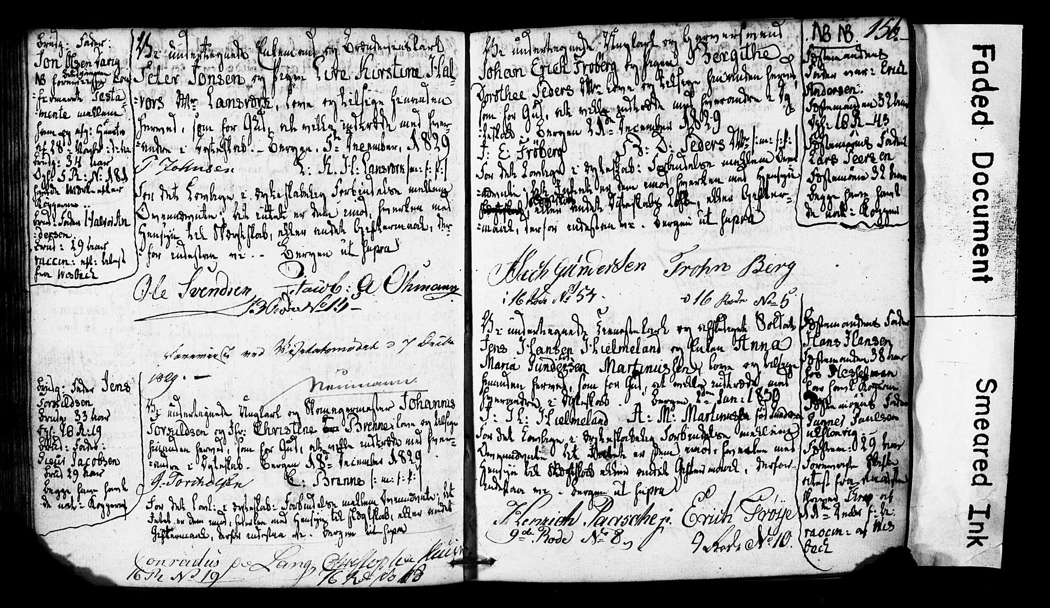 SAB, Domkirken Sokneprestembete, Forlovererklæringer nr. II.5.2, 1820-1832, s. 156