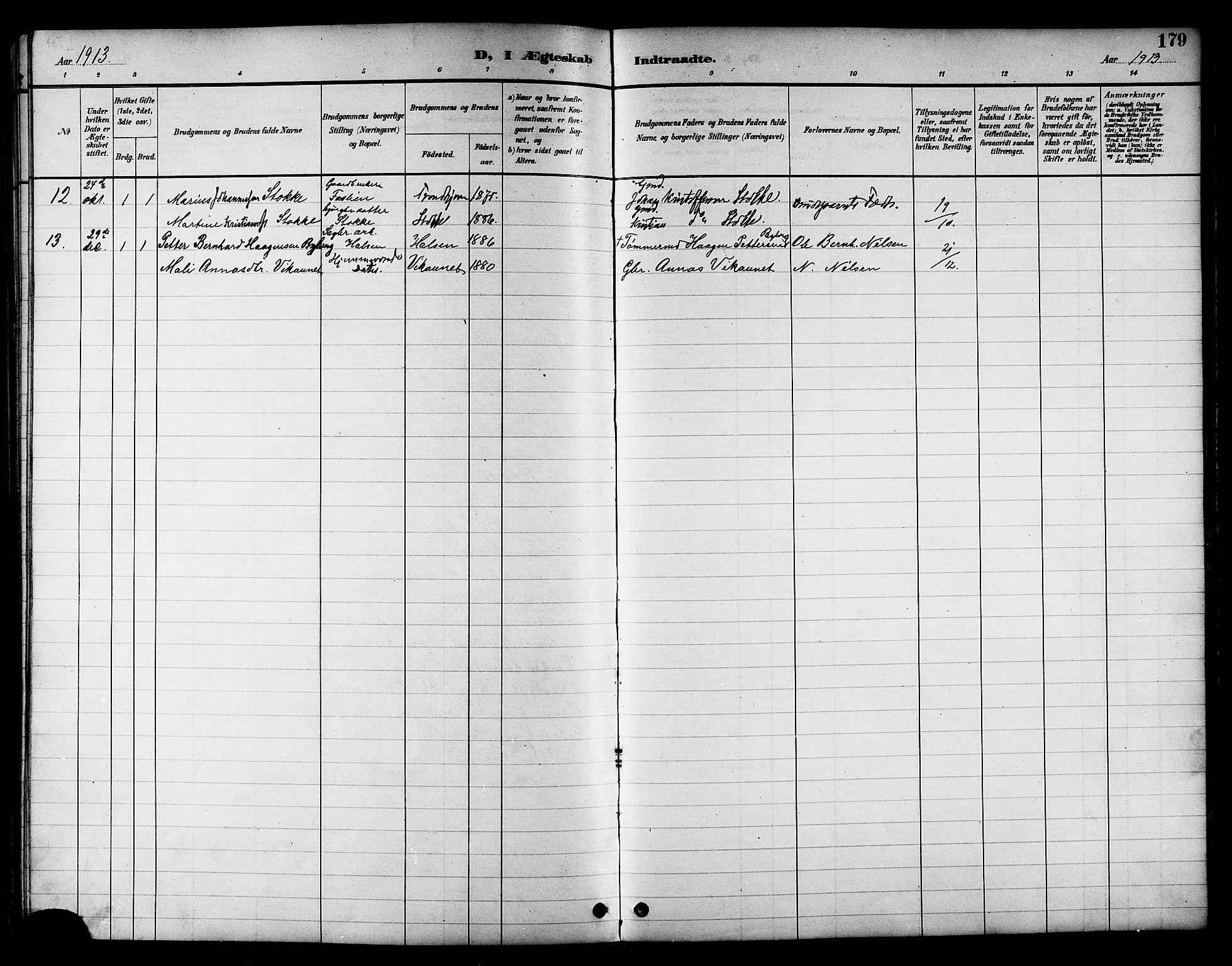 SAT, Ministerialprotokoller, klokkerbøker og fødselsregistre - Nord-Trøndelag, 709/L0087: Klokkerbok nr. 709C01, 1892-1913, s. 179