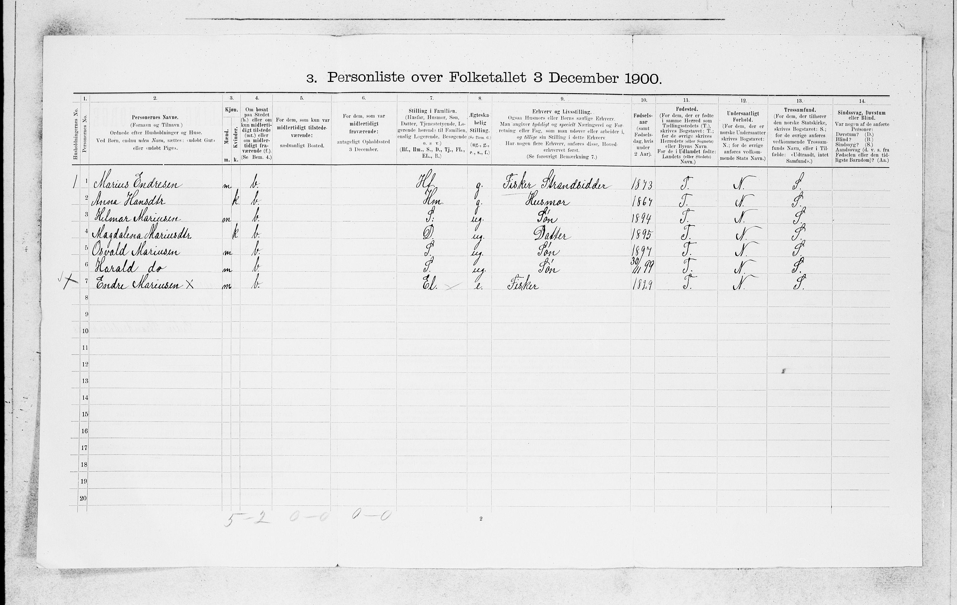 SAB, Folketelling 1900 for 1261 Manger herred, 1900, s. 1758