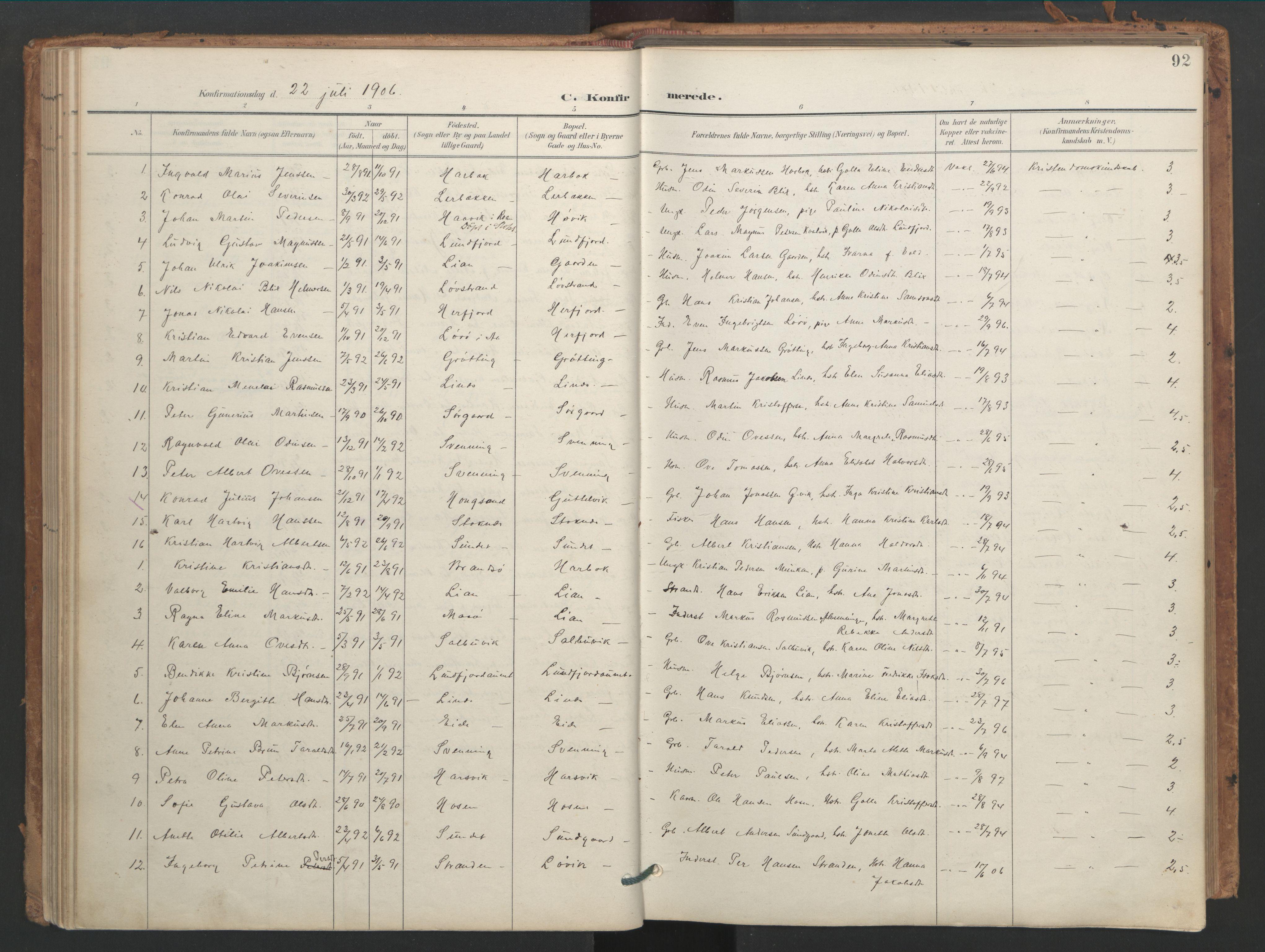SAT, Ministerialprotokoller, klokkerbøker og fødselsregistre - Sør-Trøndelag, 656/L0693: Ministerialbok nr. 656A02, 1894-1913, s. 92
