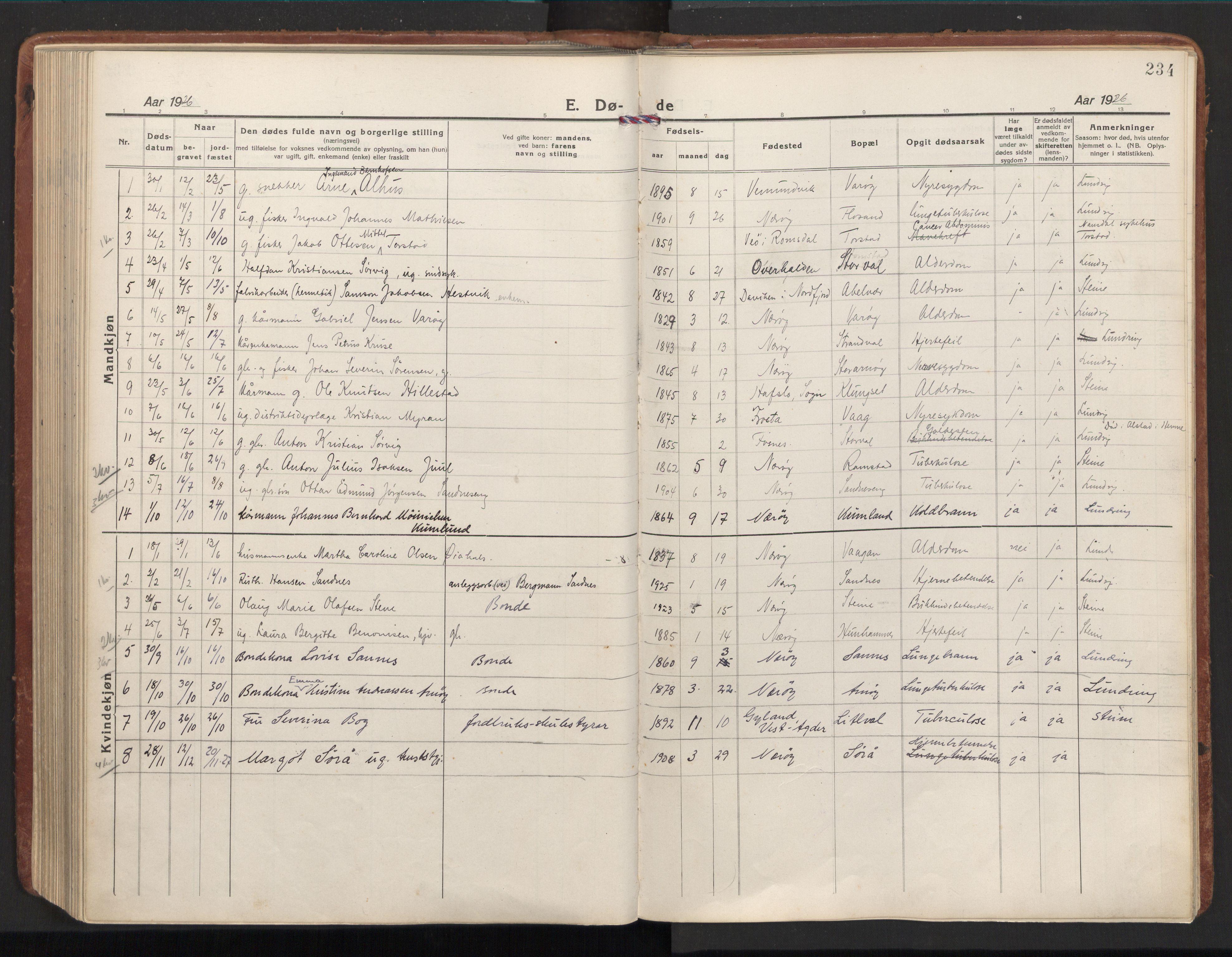 SAT, Ministerialprotokoller, klokkerbøker og fødselsregistre - Nord-Trøndelag, 784/L0678: Ministerialbok nr. 784A13, 1921-1938, s. 234