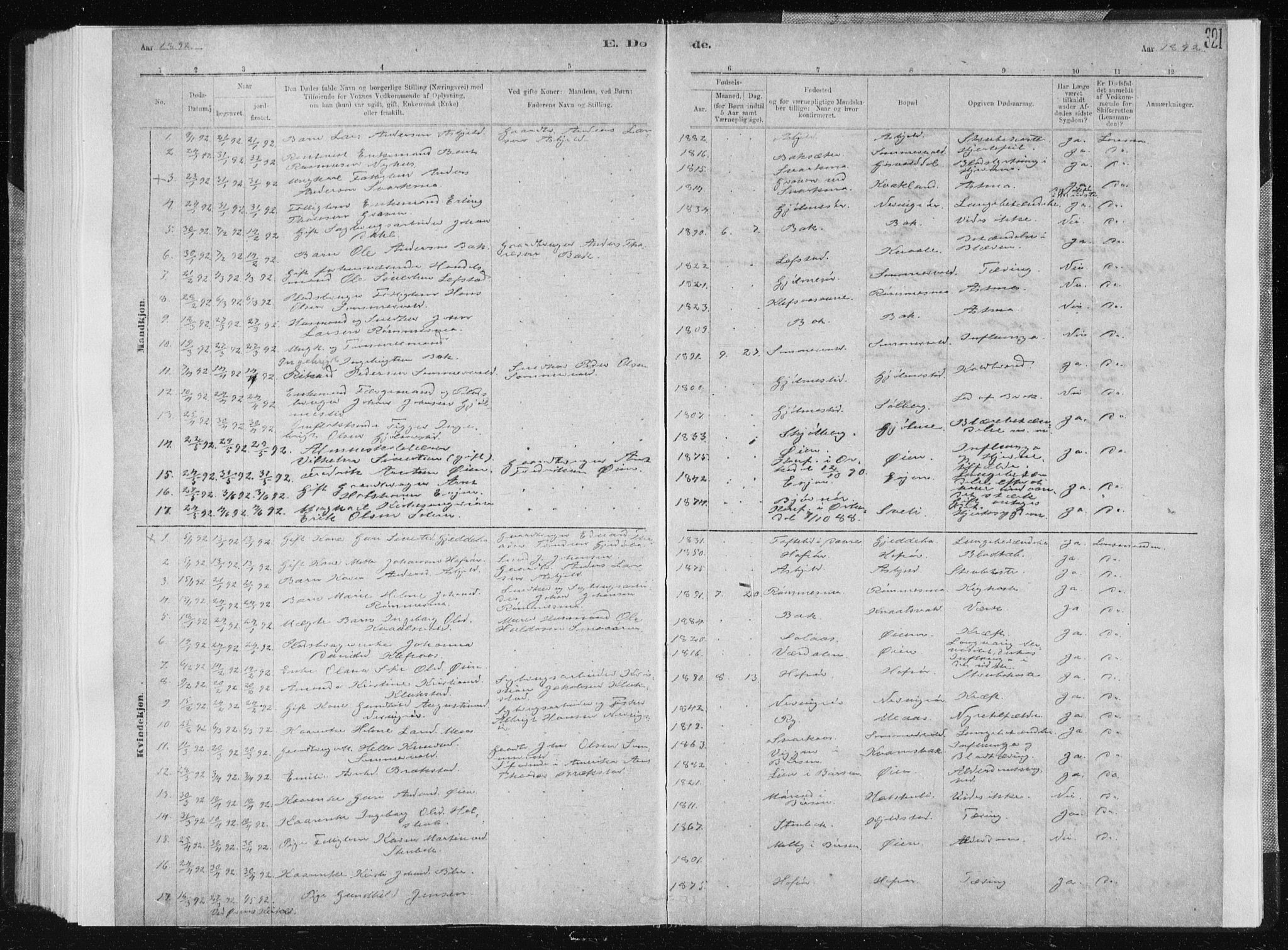 SAT, Ministerialprotokoller, klokkerbøker og fødselsregistre - Sør-Trøndelag, 668/L0818: Klokkerbok nr. 668C07, 1885-1898, s. 321