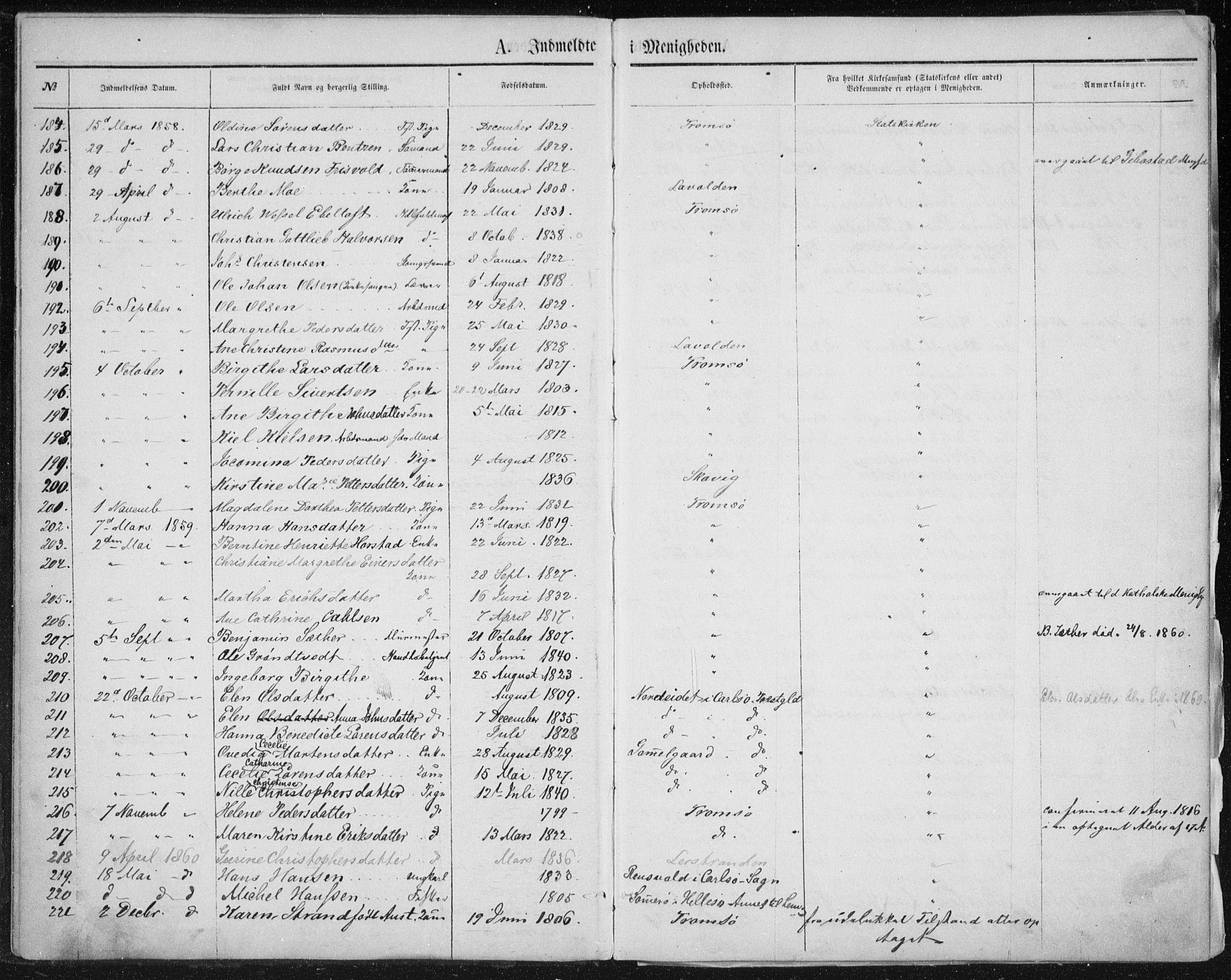SATØ, Uten arkivreferanse, Dissenterprotokoll nr. DP 1, 1856-1892