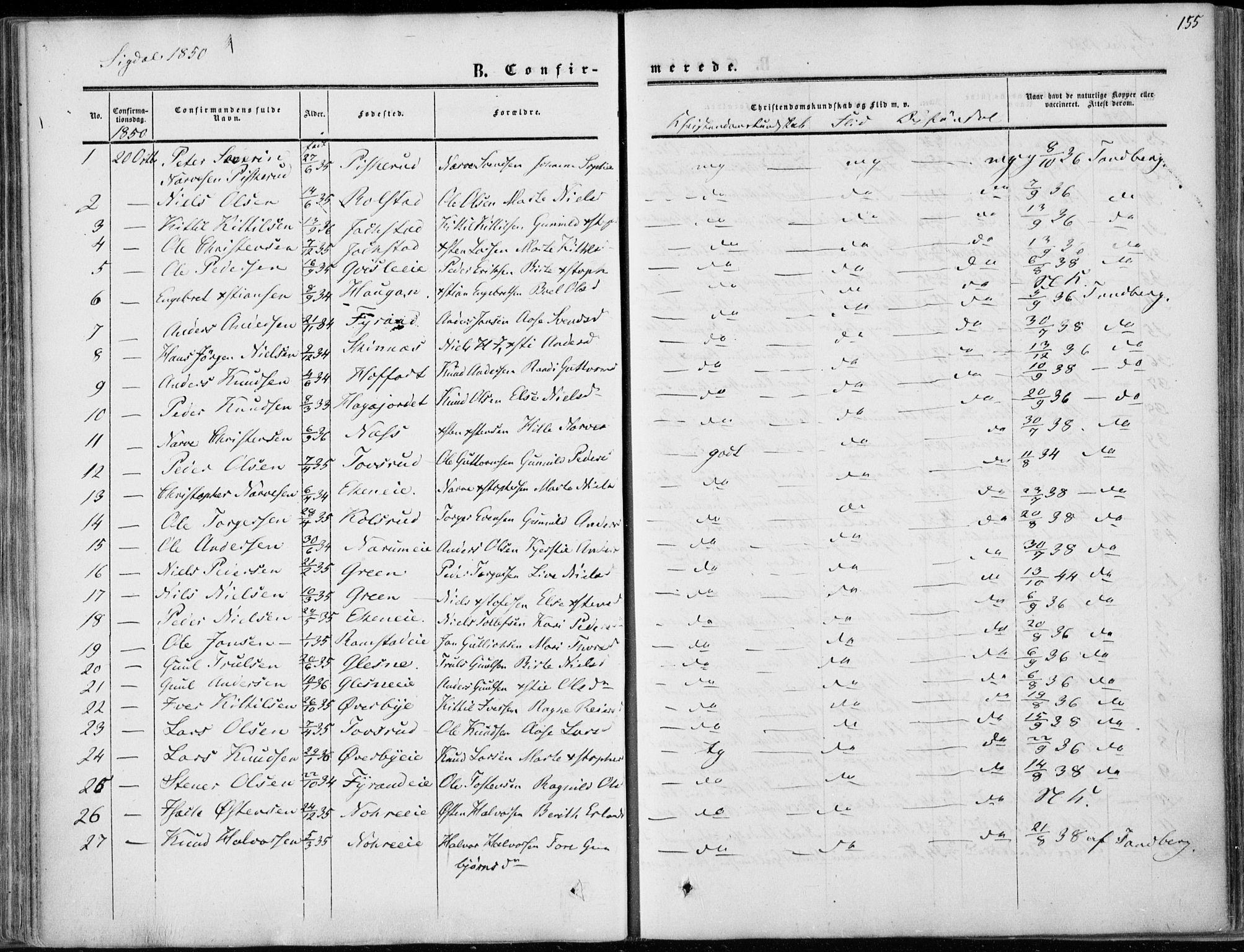 SAKO, Sigdal kirkebøker, F/Fa/L0008: Ministerialbok nr. I 8, 1850-1859, s. 155