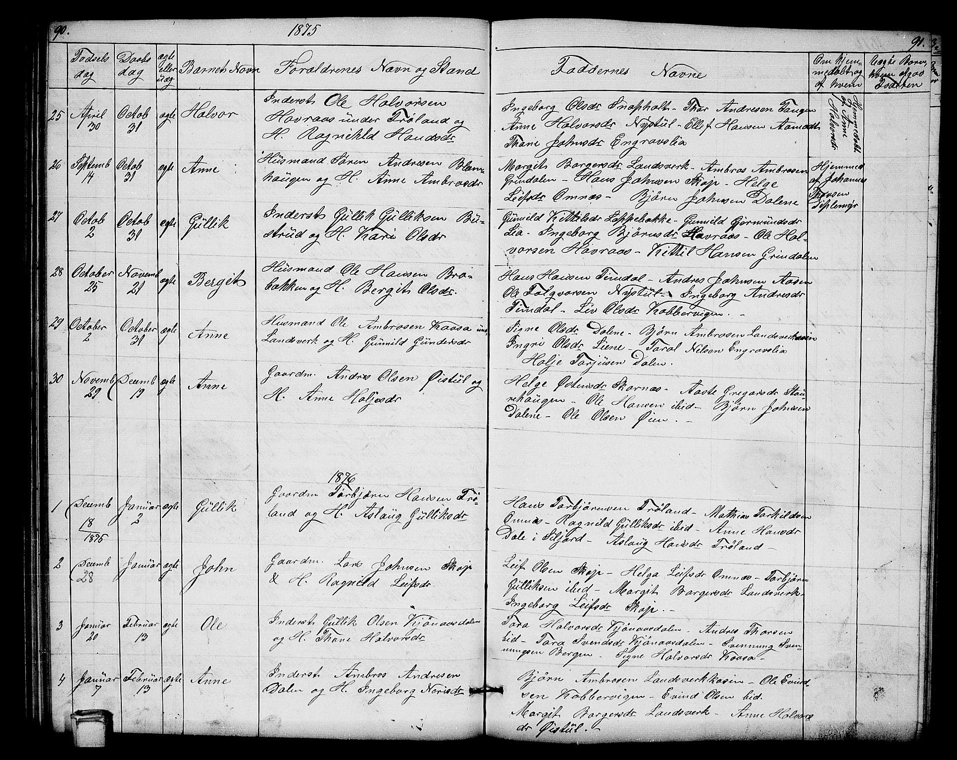 SAKO, Hjartdal kirkebøker, G/Gb/L0002: Klokkerbok nr. II 2, 1854-1884, s. 90-91