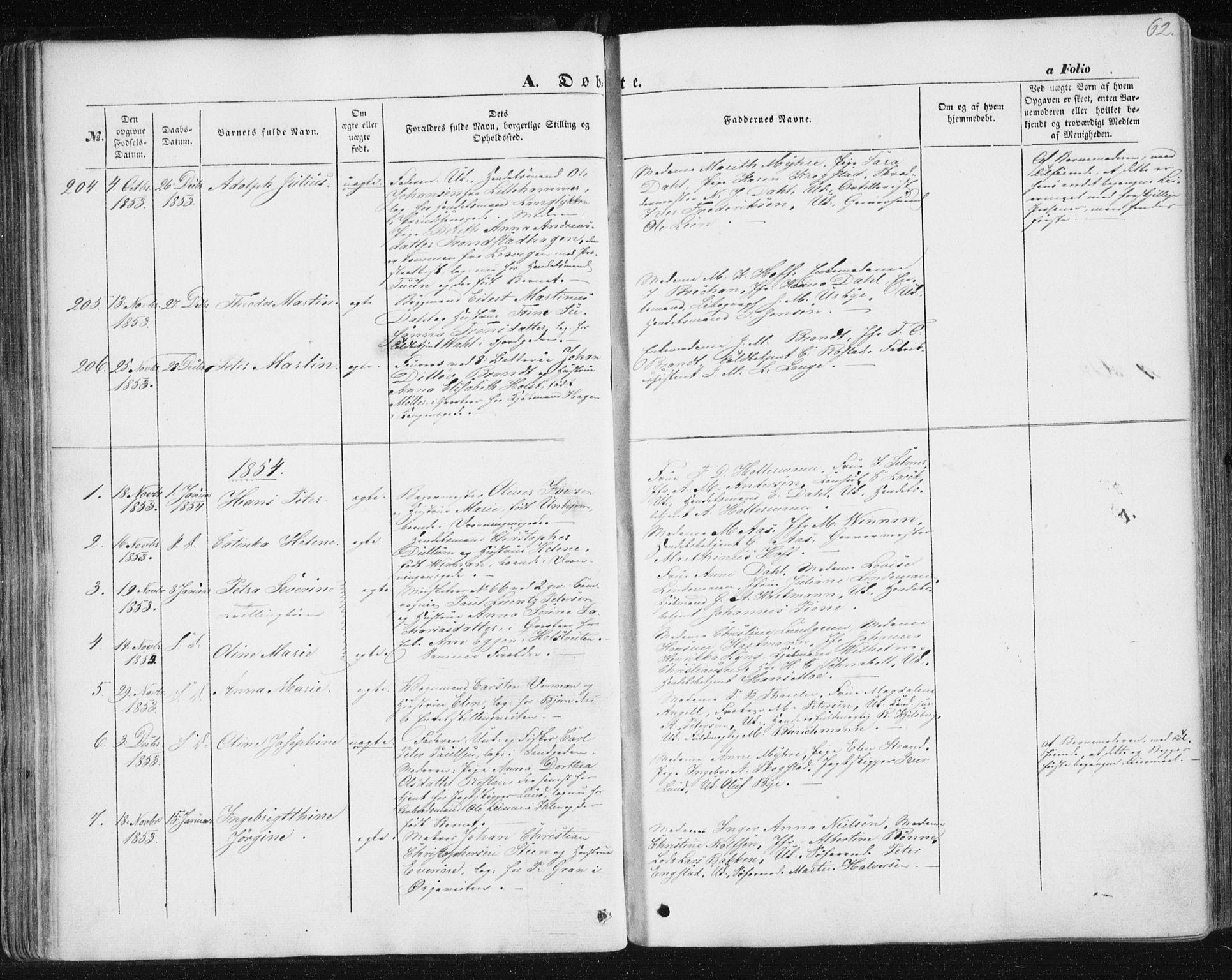 SAT, Ministerialprotokoller, klokkerbøker og fødselsregistre - Sør-Trøndelag, 602/L0112: Ministerialbok nr. 602A10, 1848-1859, s. 62