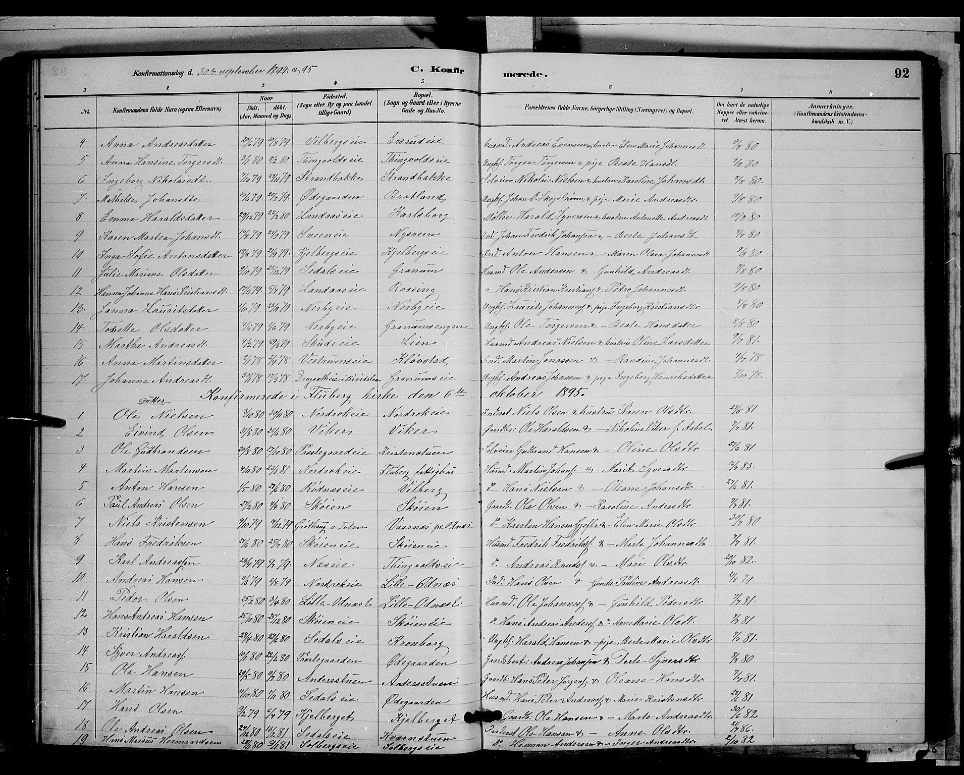 SAH, Søndre Land prestekontor, L/L0003: Klokkerbok nr. 3, 1884-1902, s. 92