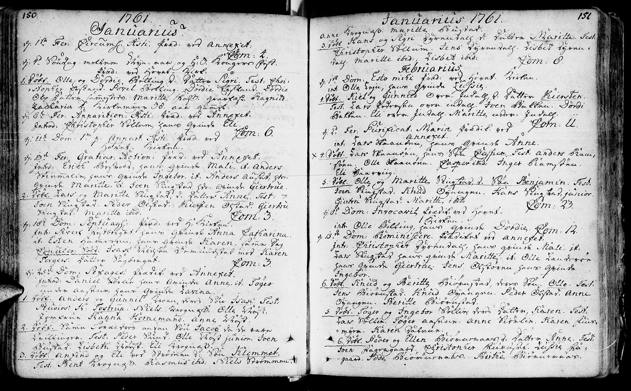 SAT, Ministerialprotokoller, klokkerbøker og fødselsregistre - Sør-Trøndelag, 646/L0605: Ministerialbok nr. 646A03, 1751-1790, s. 150-151