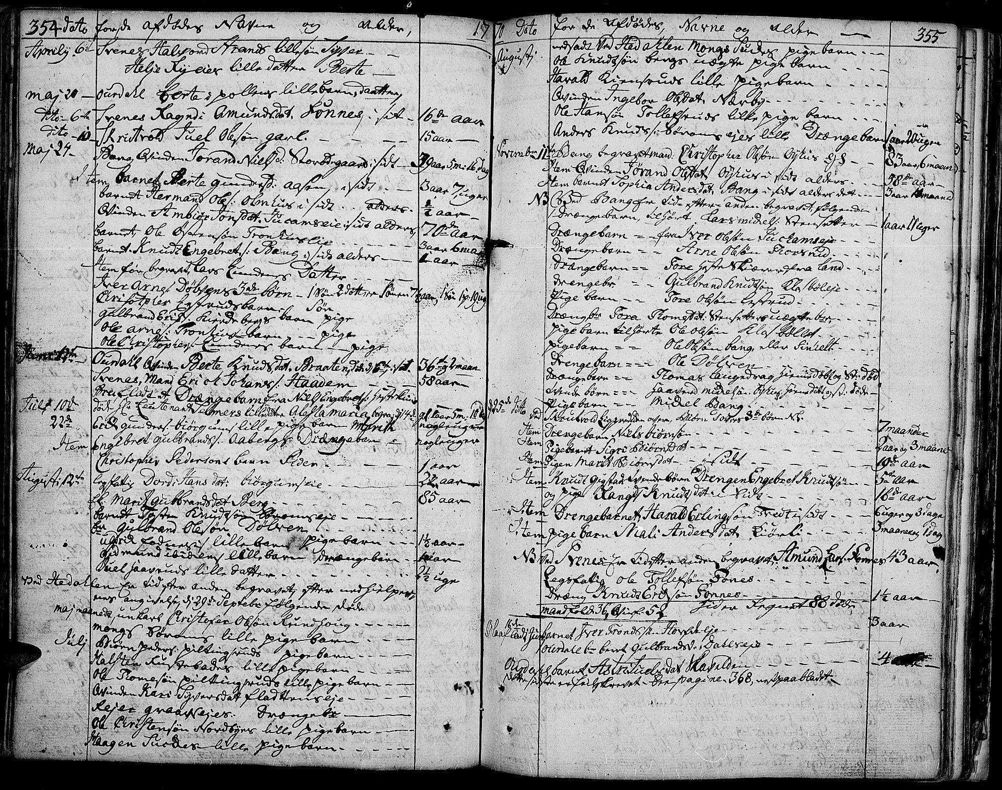 SAH, Aurdal prestekontor, Ministerialbok nr. 5, 1763-1781, s. 354-355