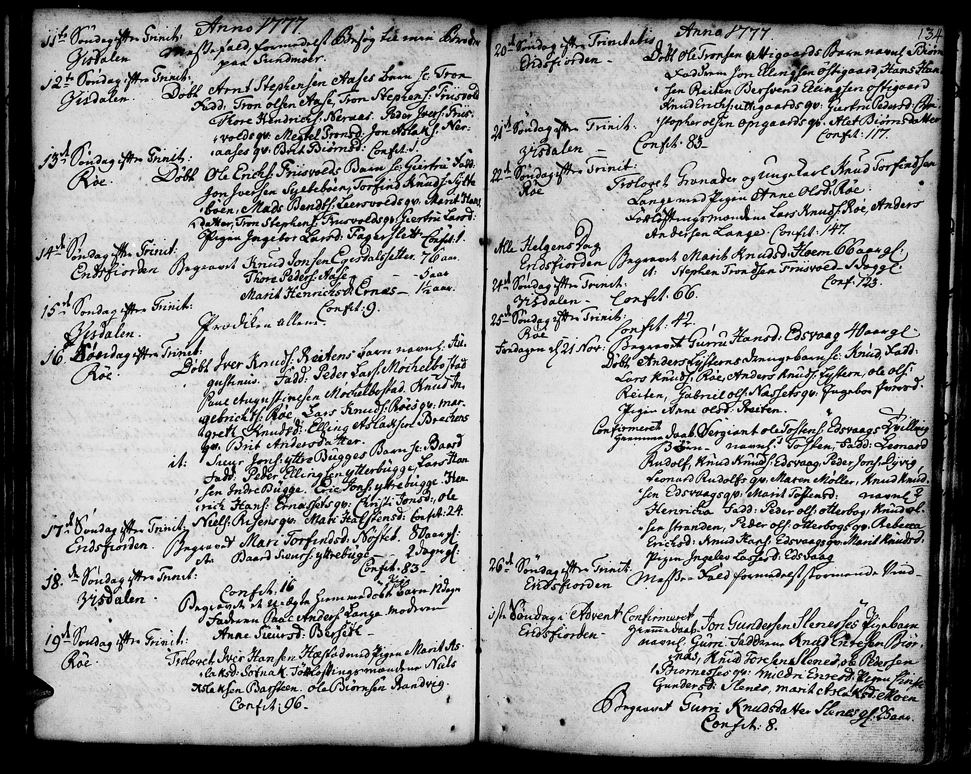SAT, Ministerialprotokoller, klokkerbøker og fødselsregistre - Møre og Romsdal, 551/L0621: Ministerialbok nr. 551A01, 1757-1803, s. 134
