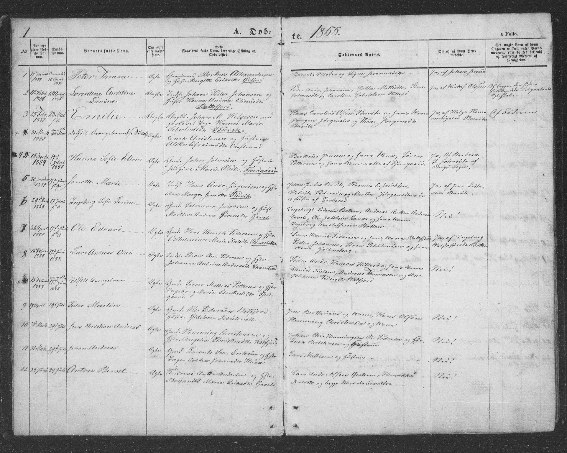 SATØ, Lenvik sokneprestembete, H/Ha: Klokkerbok nr. 20, 1855-1883, s. 1