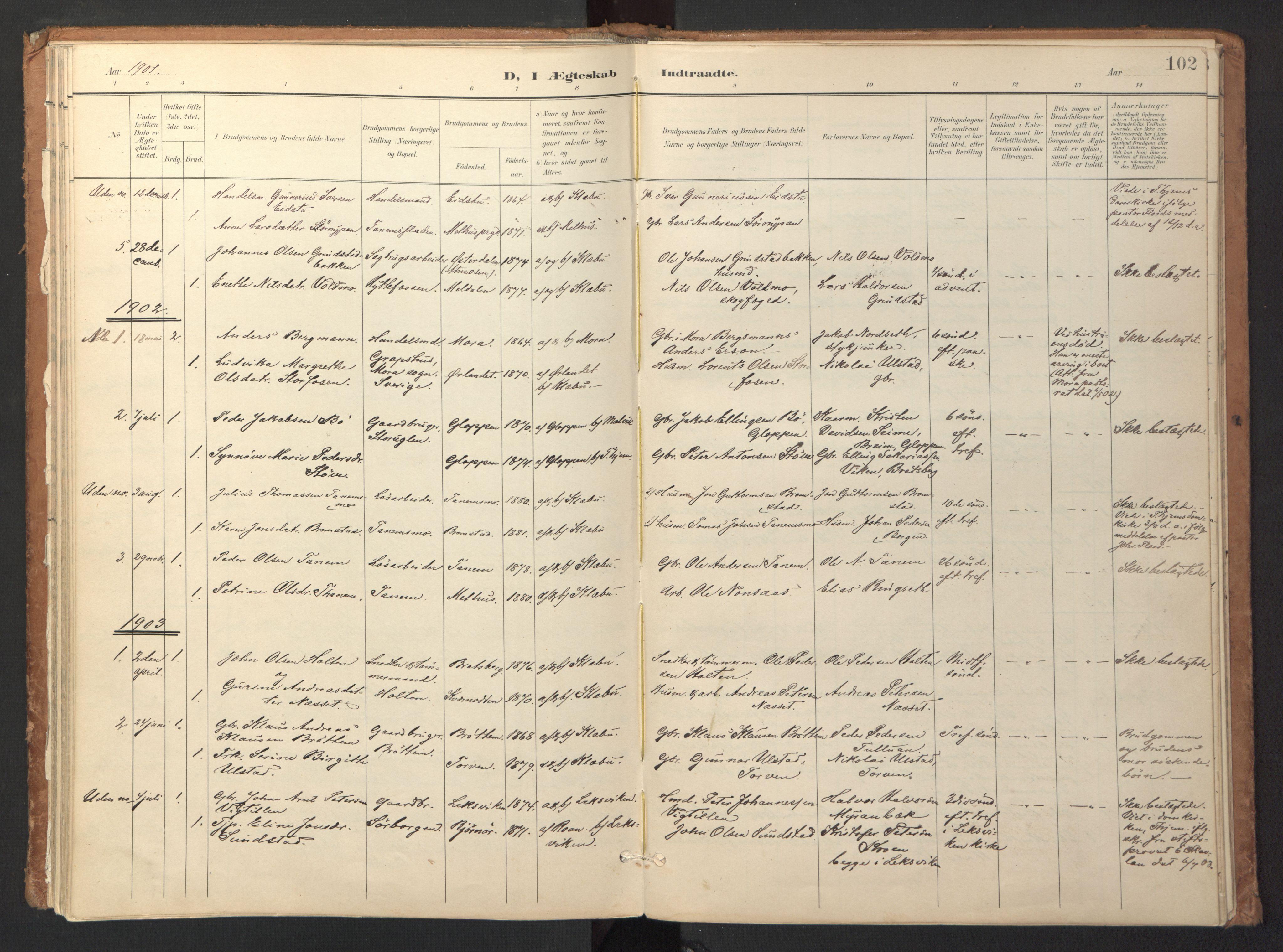SAT, Ministerialprotokoller, klokkerbøker og fødselsregistre - Sør-Trøndelag, 618/L0448: Ministerialbok nr. 618A11, 1898-1916, s. 102