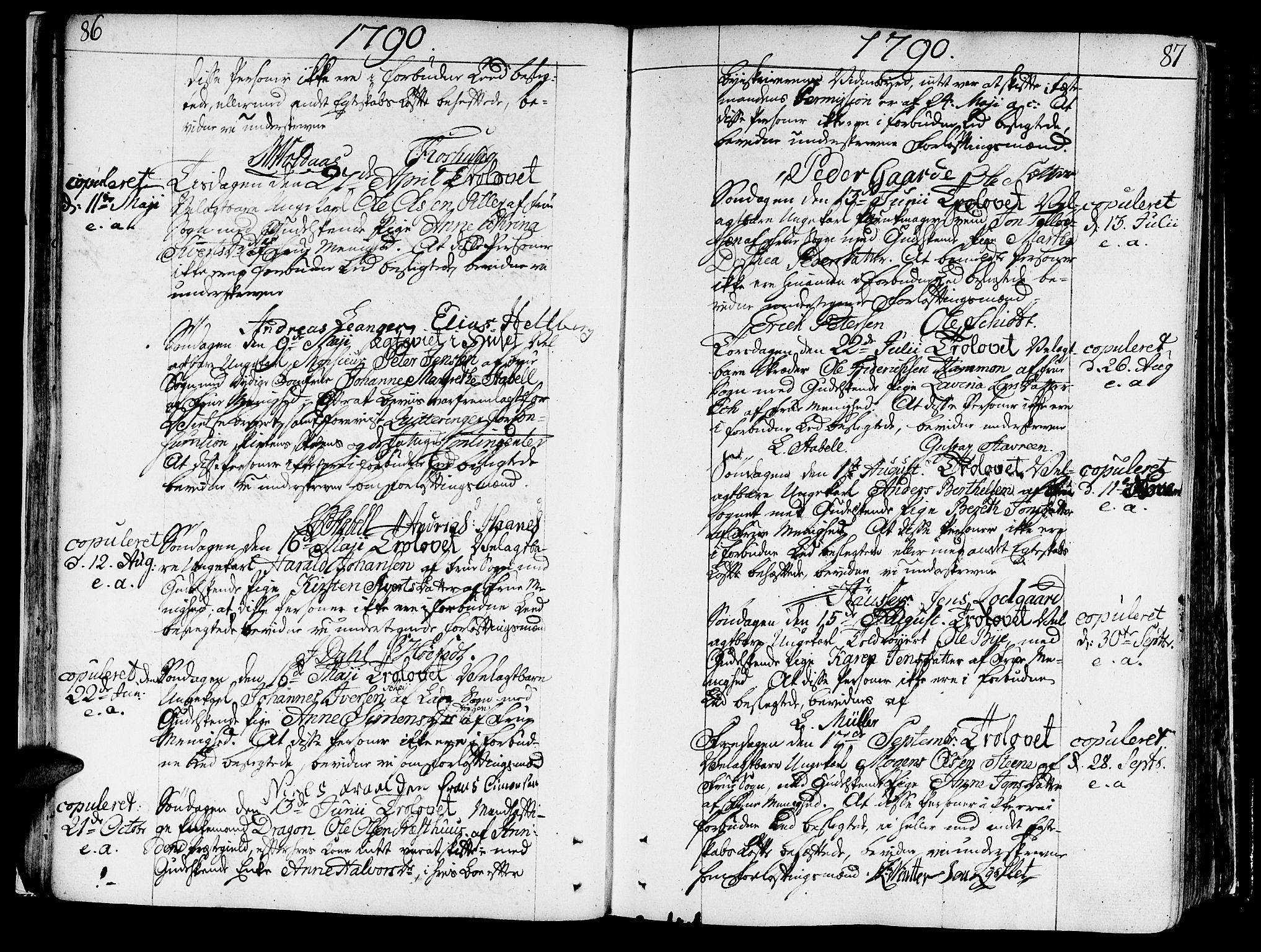 SAT, Ministerialprotokoller, klokkerbøker og fødselsregistre - Sør-Trøndelag, 602/L0105: Ministerialbok nr. 602A03, 1774-1814, s. 86-87