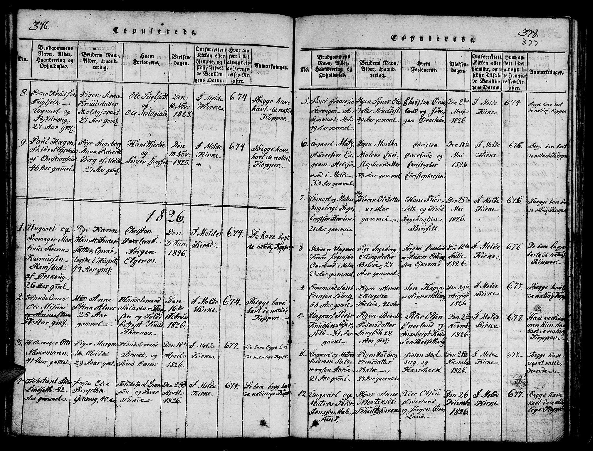 SAT, Ministerialprotokoller, klokkerbøker og fødselsregistre - Møre og Romsdal, 558/L0700: Klokkerbok nr. 558C01, 1818-1868, s. 376-377