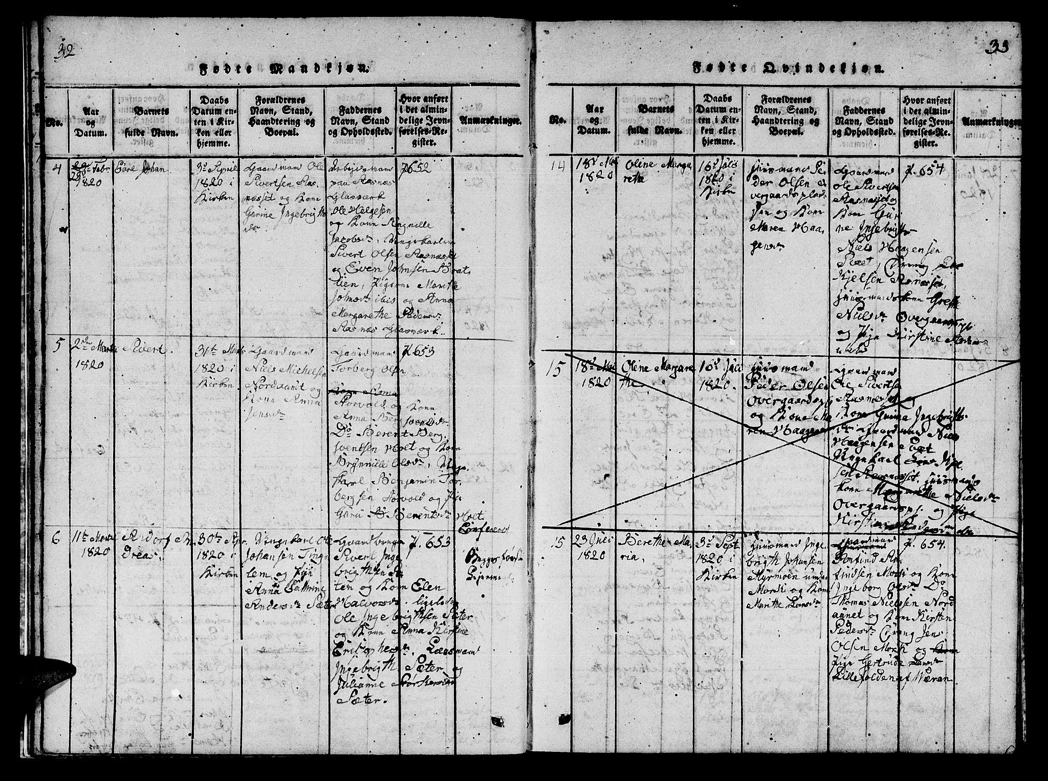 SAT, Ministerialprotokoller, klokkerbøker og fødselsregistre - Nord-Trøndelag, 742/L0411: Klokkerbok nr. 742C02, 1817-1825, s. 32-33