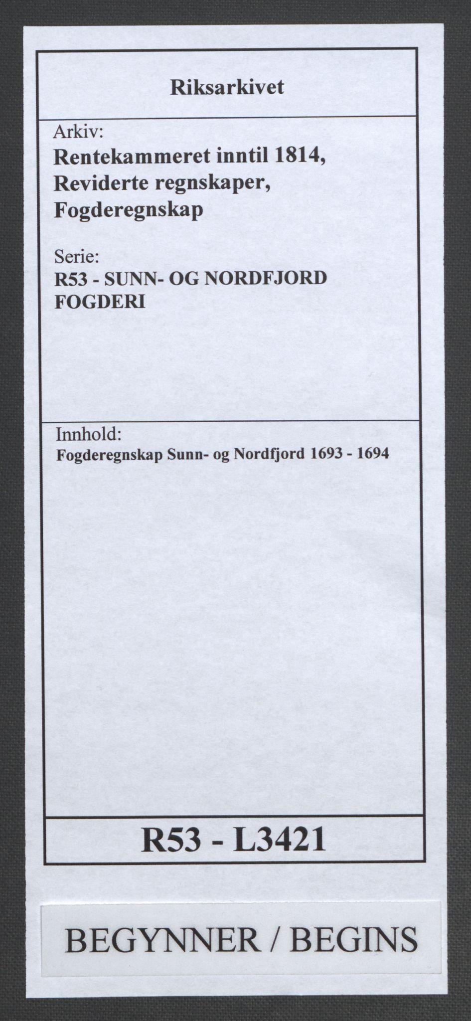 RA, Rentekammeret inntil 1814, Reviderte regnskaper, Fogderegnskap, R53/L3421: Fogderegnskap Sunn- og Nordfjord, 1693-1694, s. 1