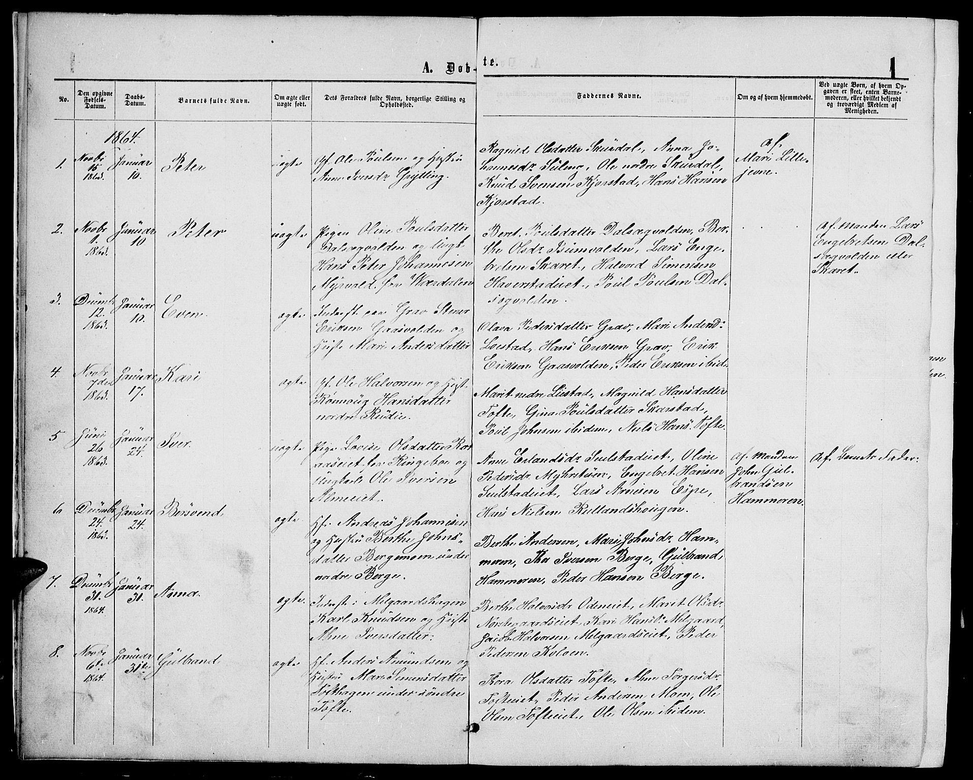 SAH, Sør-Fron prestekontor, H/Ha/Hab/L0002: Klokkerbok nr. 2, 1864-1883, s. 1