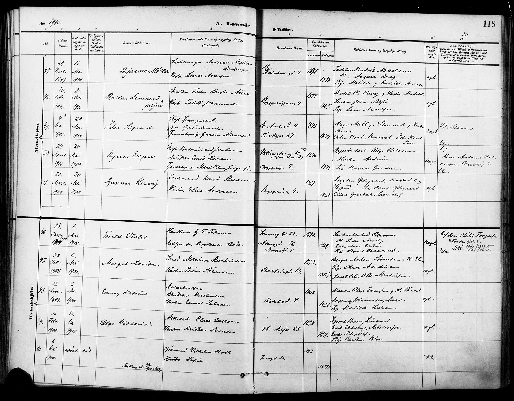 SAO, Jakob prestekontor Kirkebøker, F/Fa/L0005: Ministerialbok nr. 5, 1896-1903, s. 118